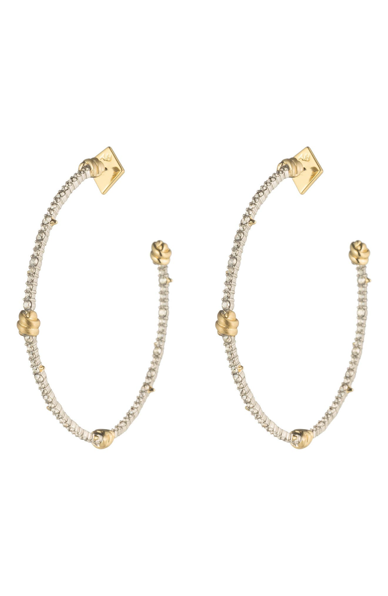 Crystal Pavé Knotted Hoop Earrings,                             Main thumbnail 1, color,                             GOLD/ SILVER