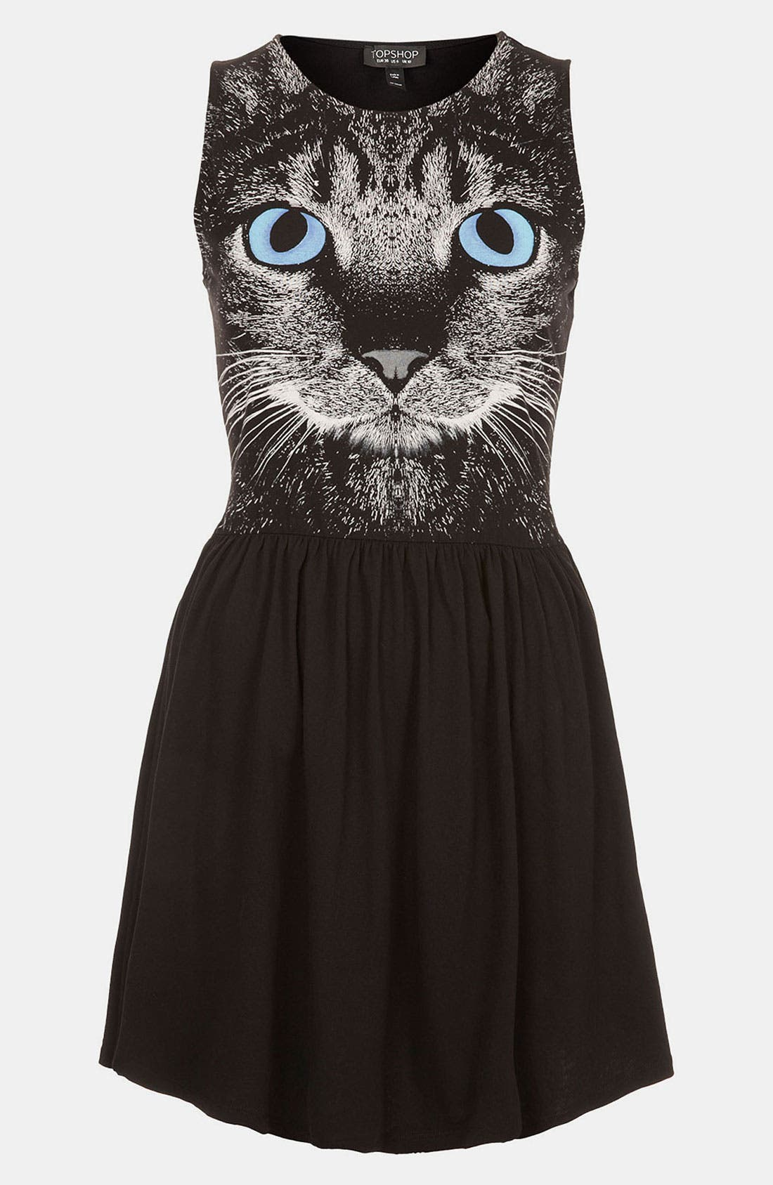 Cat Graphic Skater Dress,                             Main thumbnail 1, color,                             001