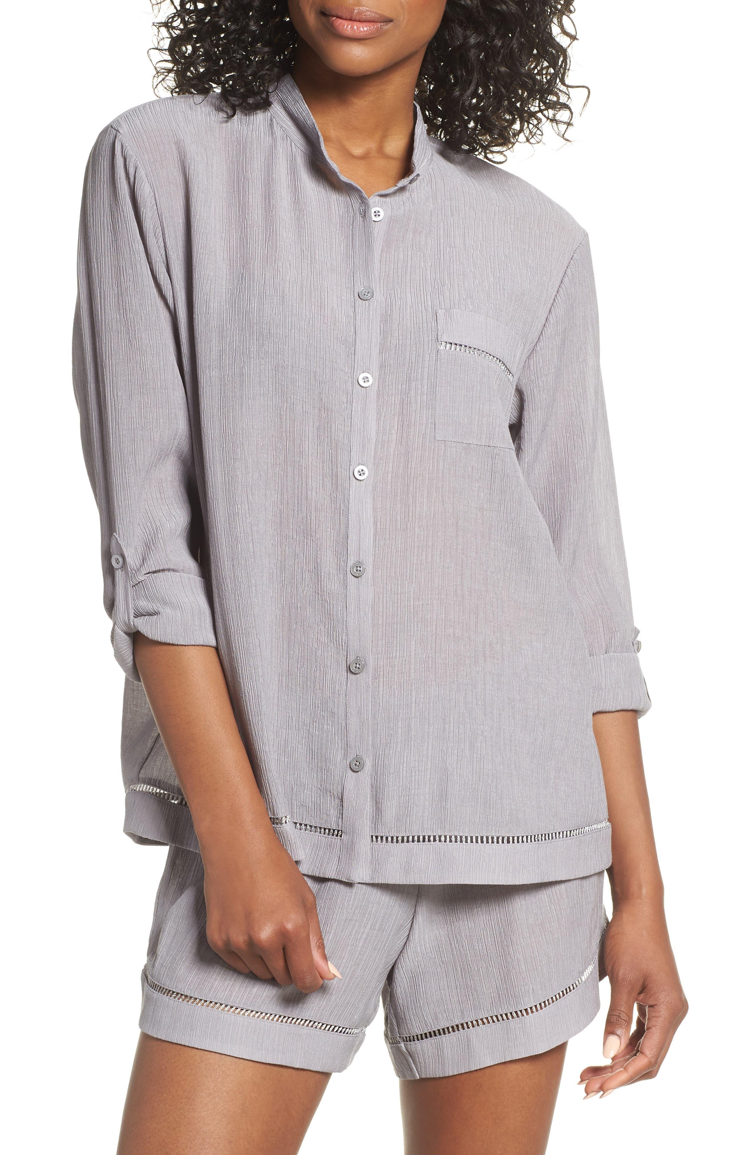 Nordstrom Lingerie Crinkle Short Pajamas, Grey