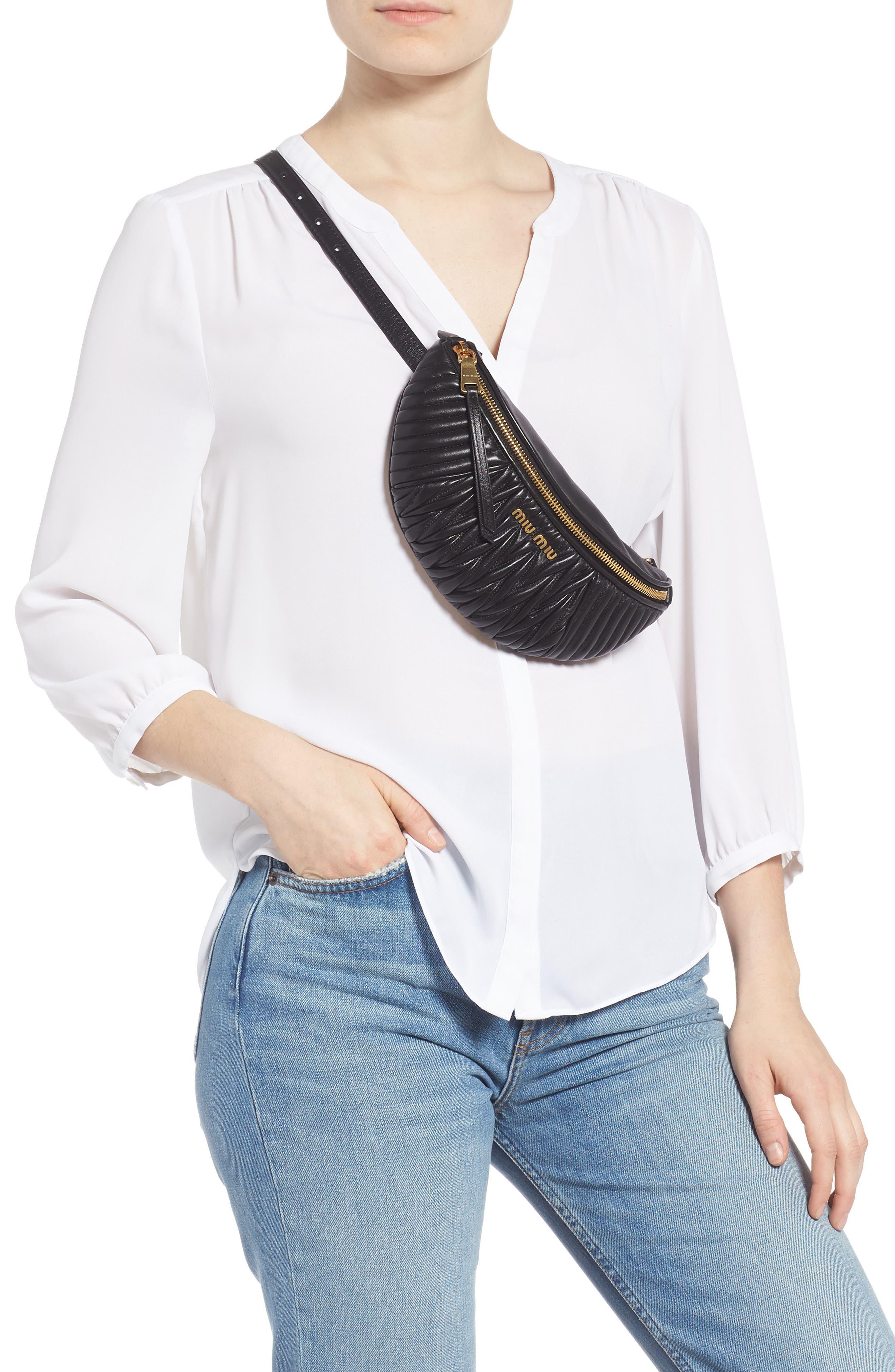 Matelassé Lambskin Leather Belt Bag,                             Alternate thumbnail 4, color,                             NERO
