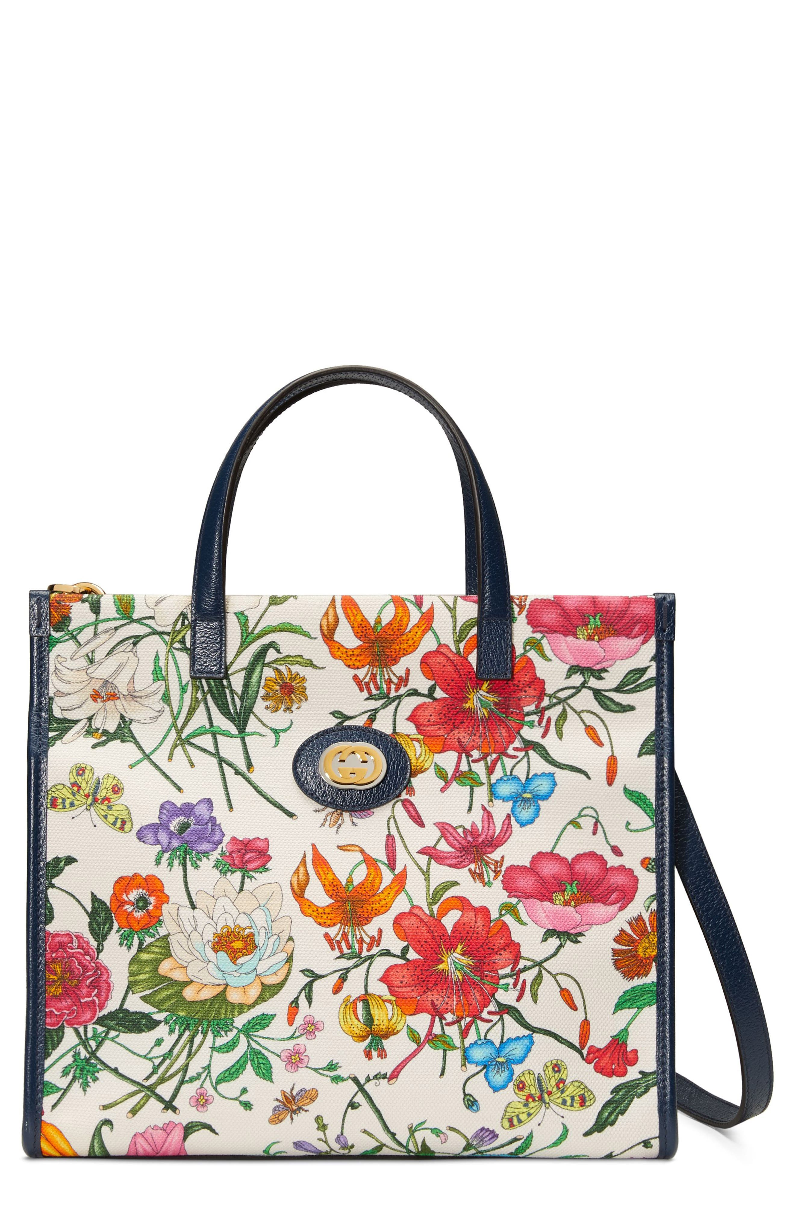 Small Flora Canvas Tote,                             Main thumbnail 1, color,                             WHITE MULTI