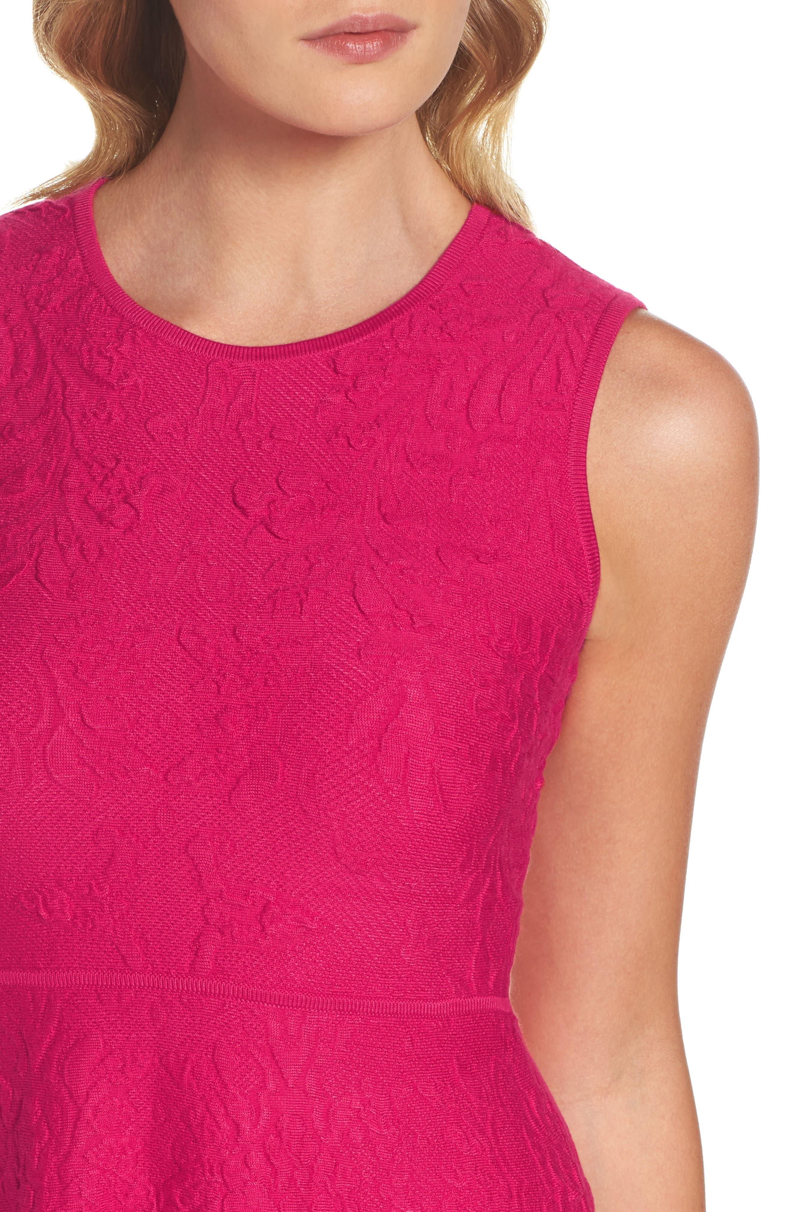Texture Knit Fit & Flare Dress,                             Alternate thumbnail 4, color,                             660