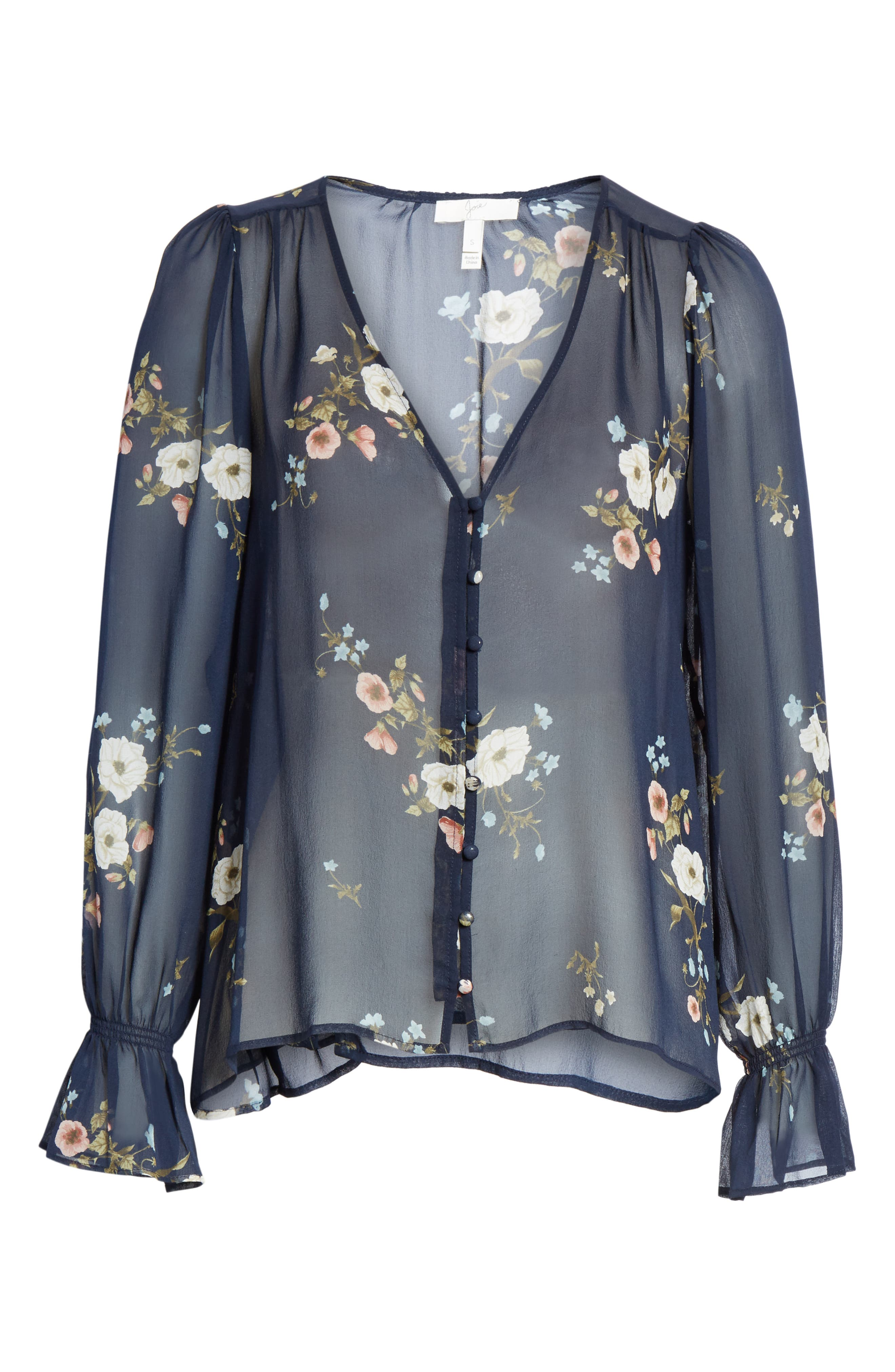 JOIE,                             Bolona Floral Silk Blouse,                             Alternate thumbnail 6, color,                             MIDNIGHT