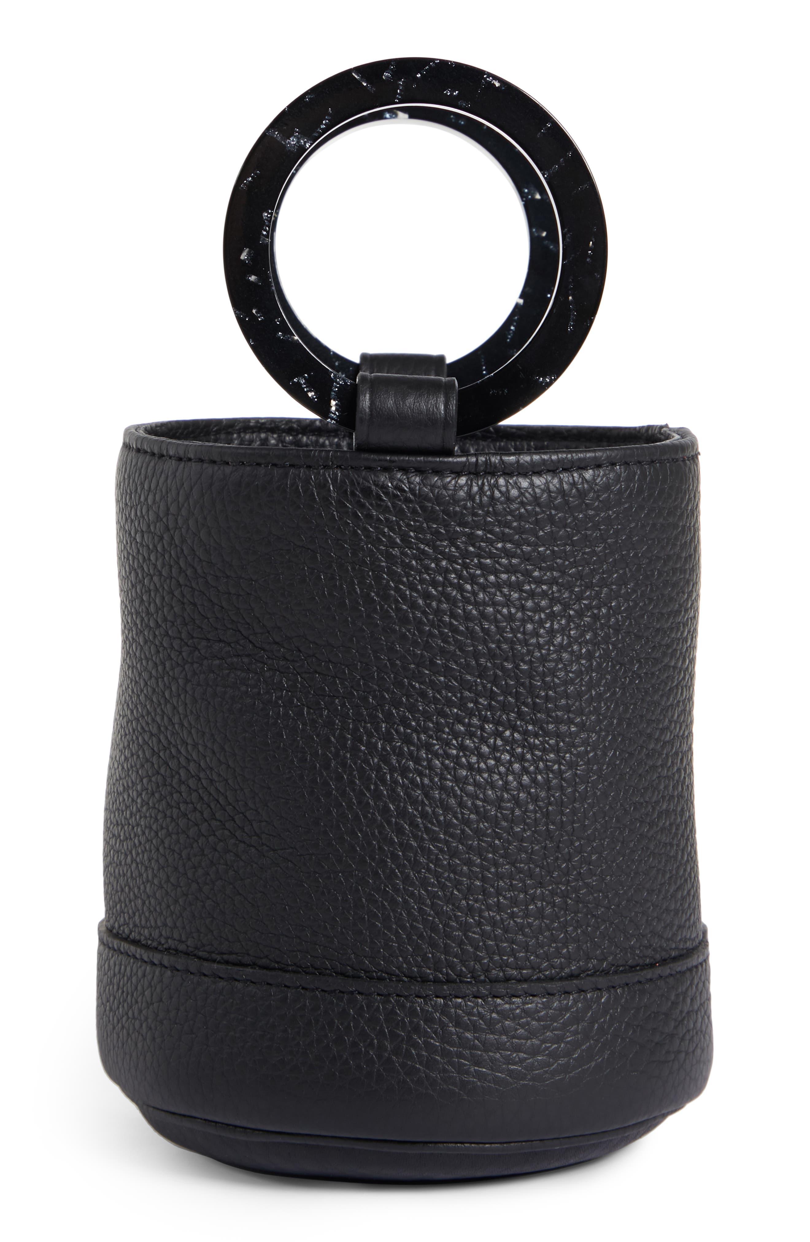Bonsai 15 Calfskin Leather Bucket Bag,                             Alternate thumbnail 3, color,                             ALL BLACK