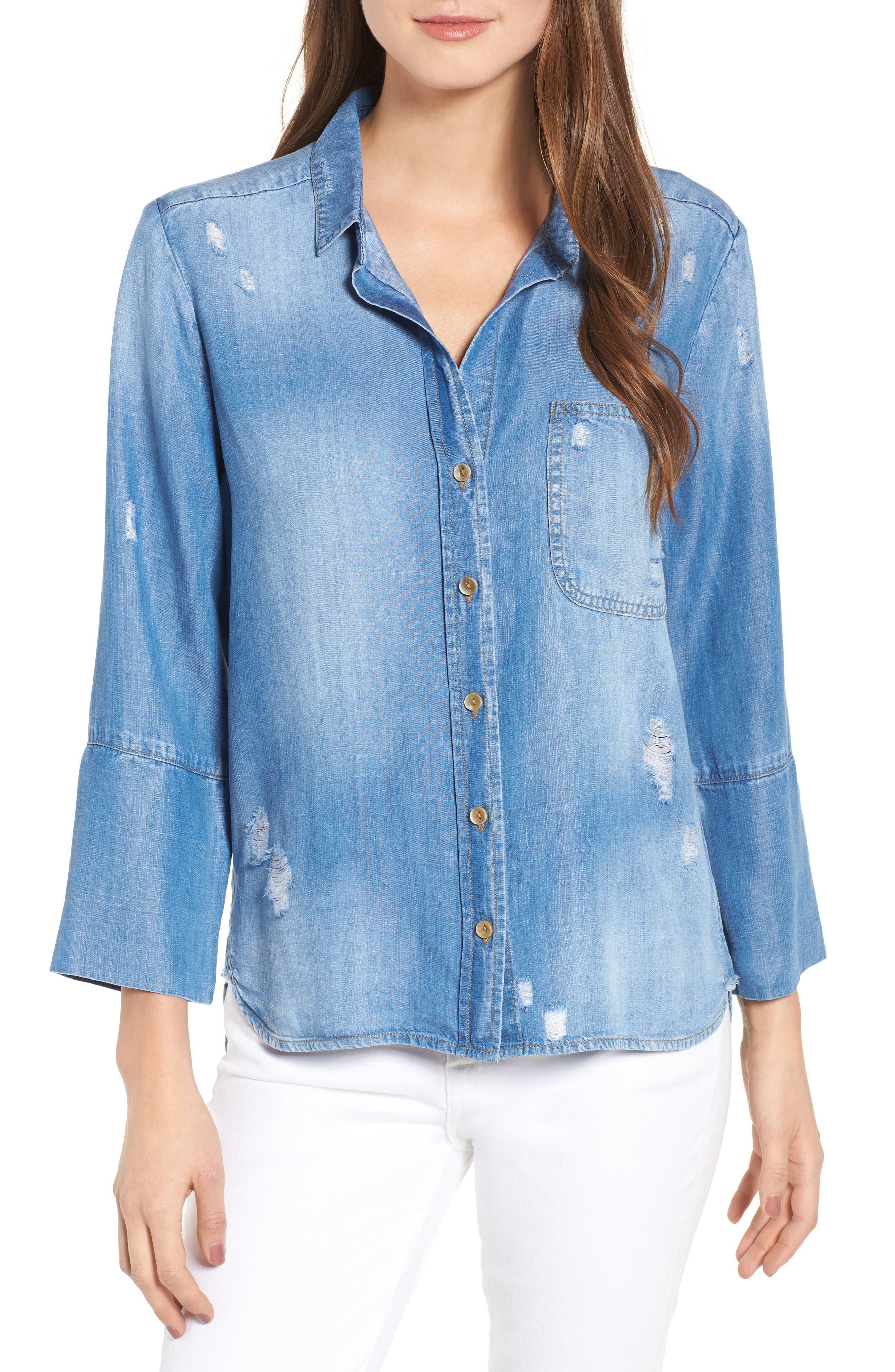 Ripped Denim Shirt,                         Main,                         color, 496
