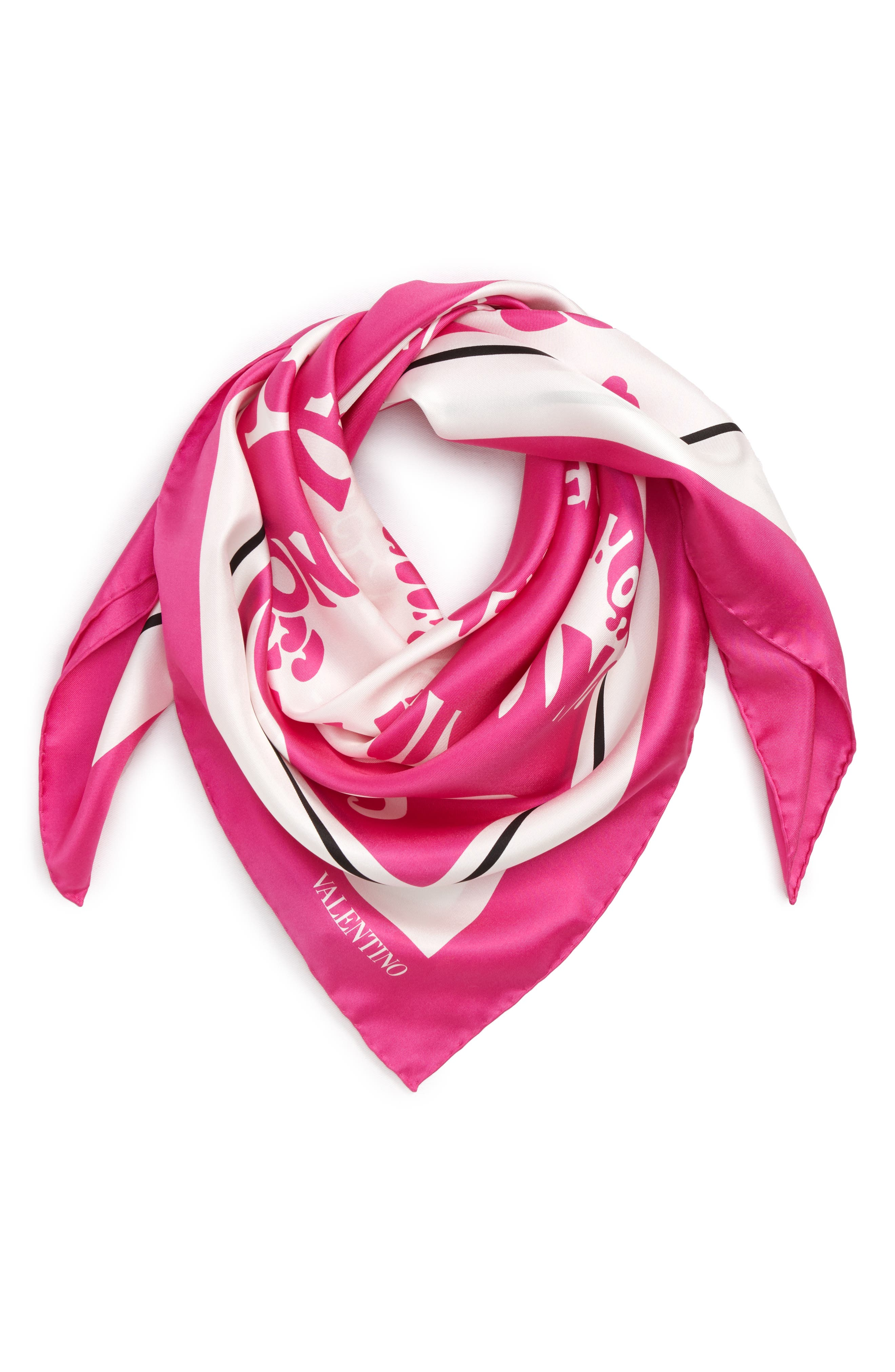 Waves Silk Scarf,                             Alternate thumbnail 2, color,                             PINK