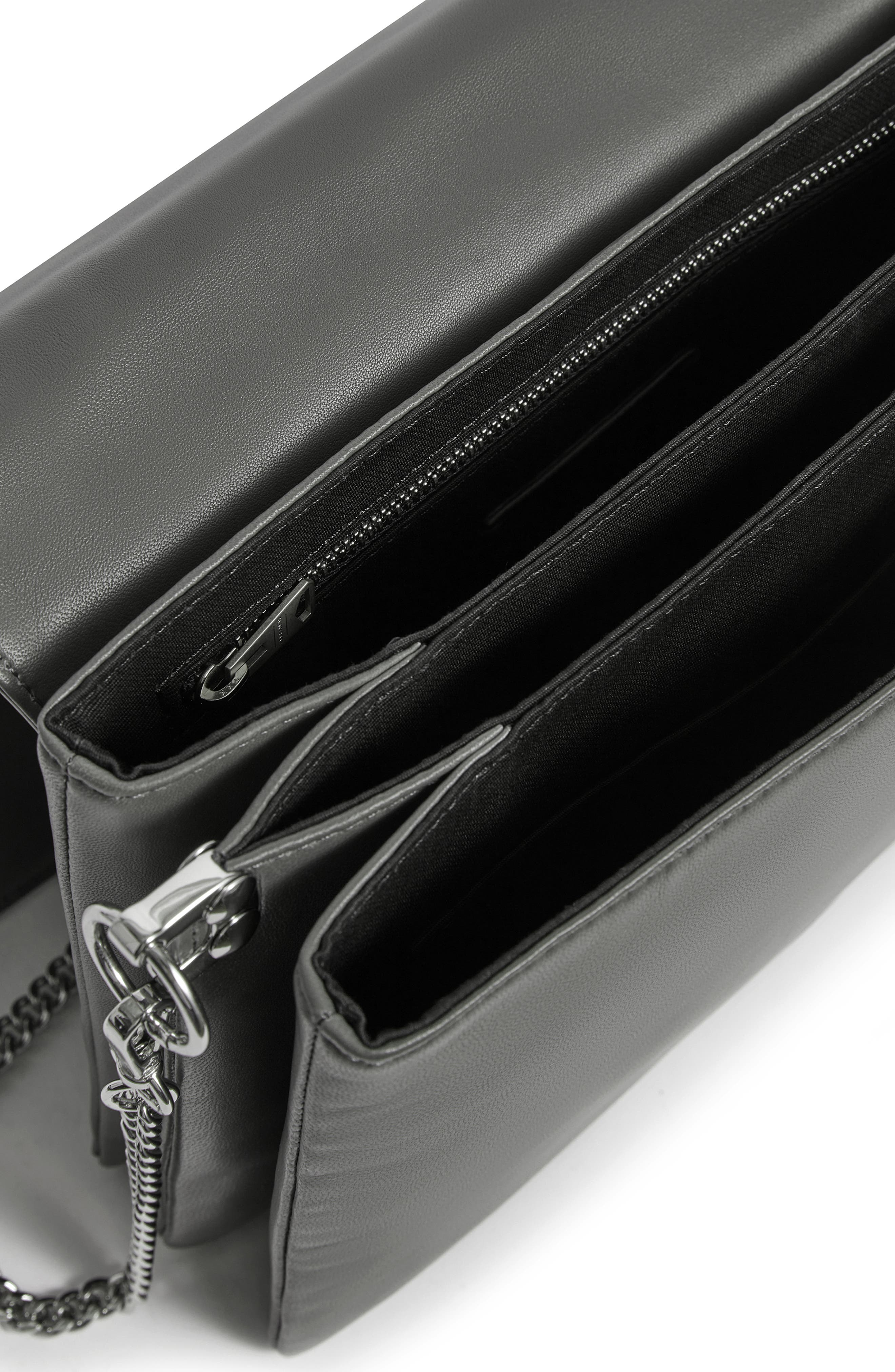 Zep Lambskin Leather Box Bag,                             Alternate thumbnail 5, color,                             SMOKY BLUE/ DARK BLUE