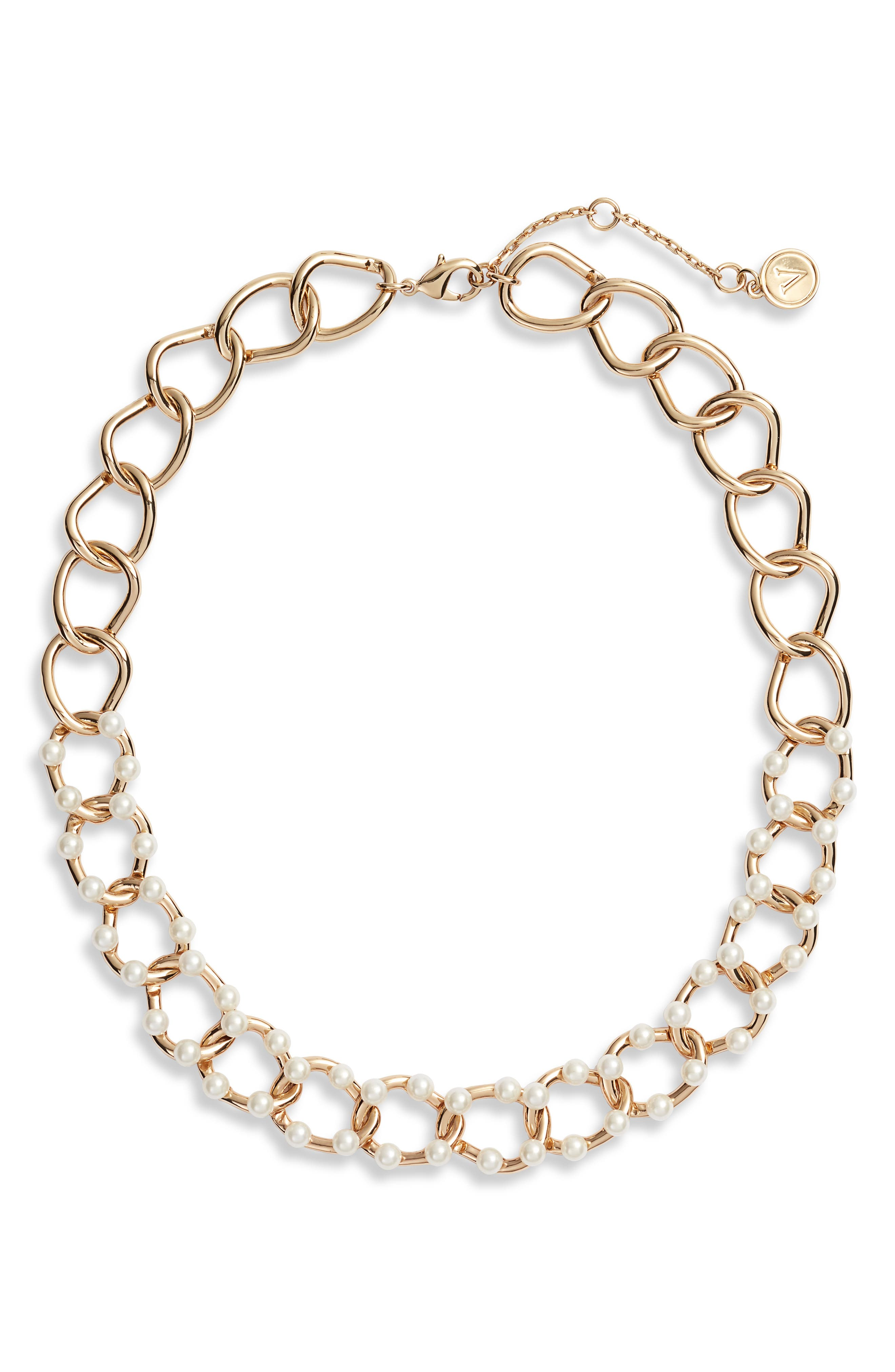 Faux Pearl Link Necklace,                             Main thumbnail 1, color,                             GOLD/ PEARL