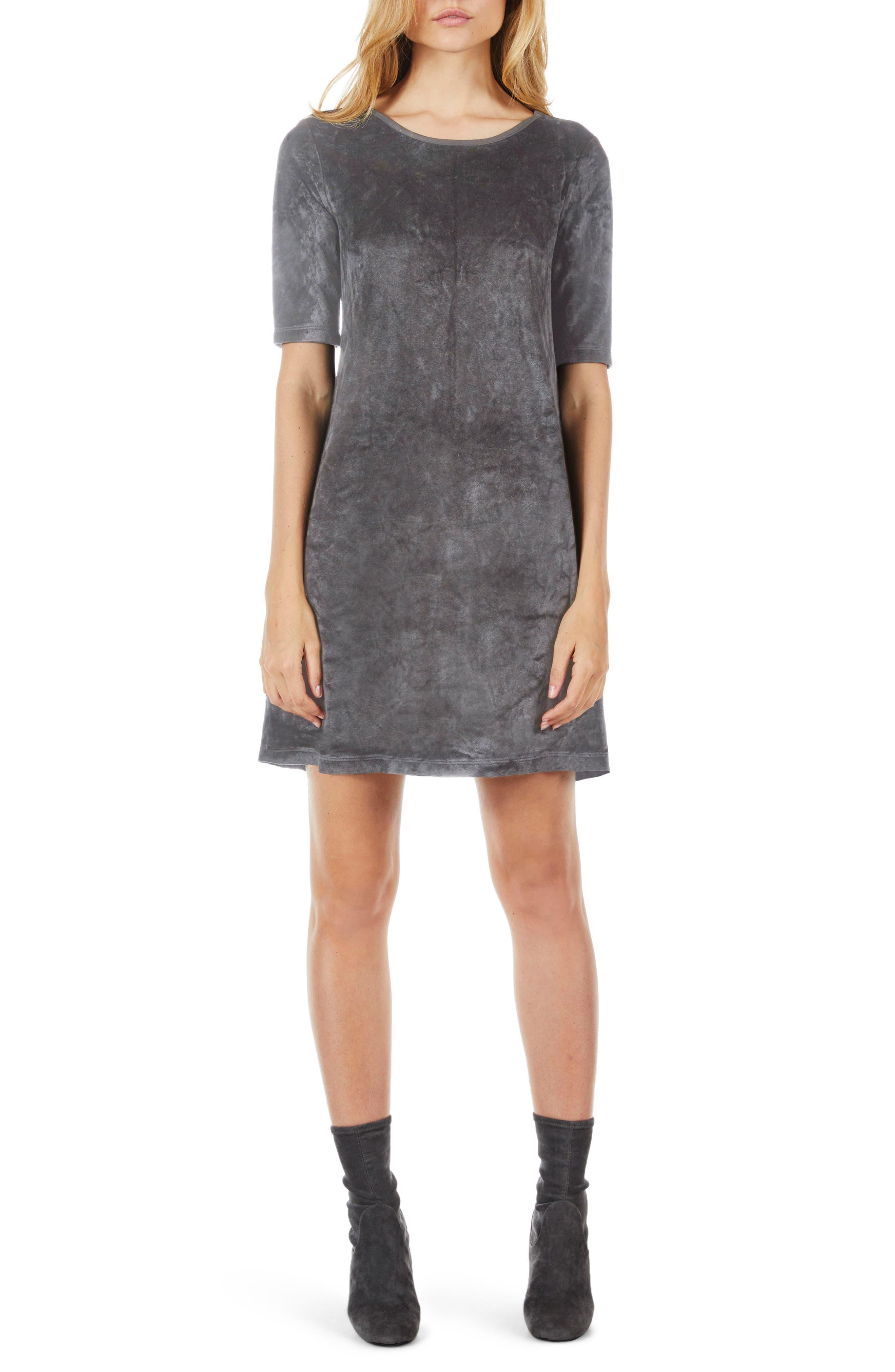 Elbow Sleeve Velvet Shift Dress,                             Main thumbnail 2, color,