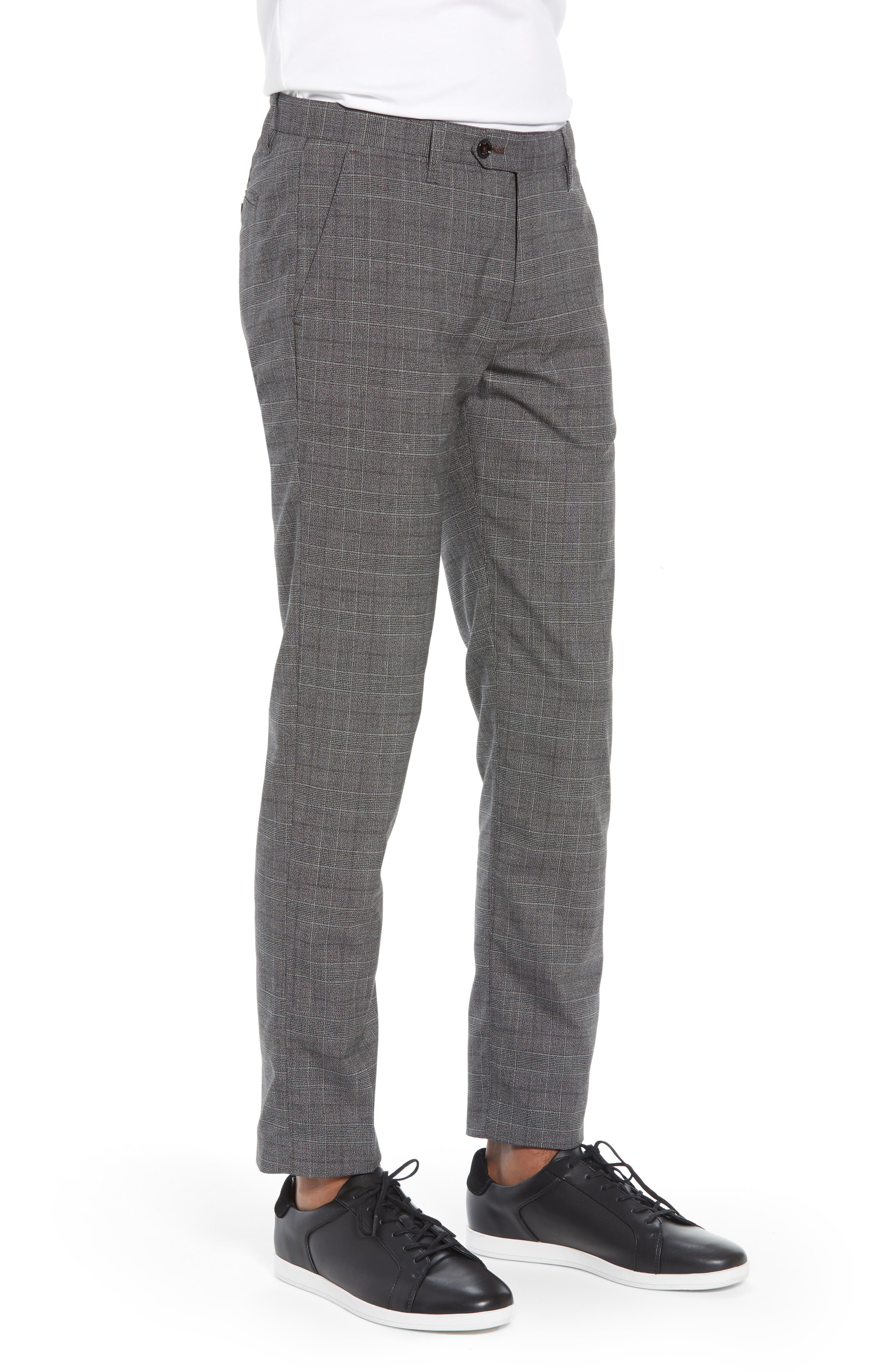Squared Slim Fit Check Cropped Trousers,                             Alternate thumbnail 3, color,                             GREY