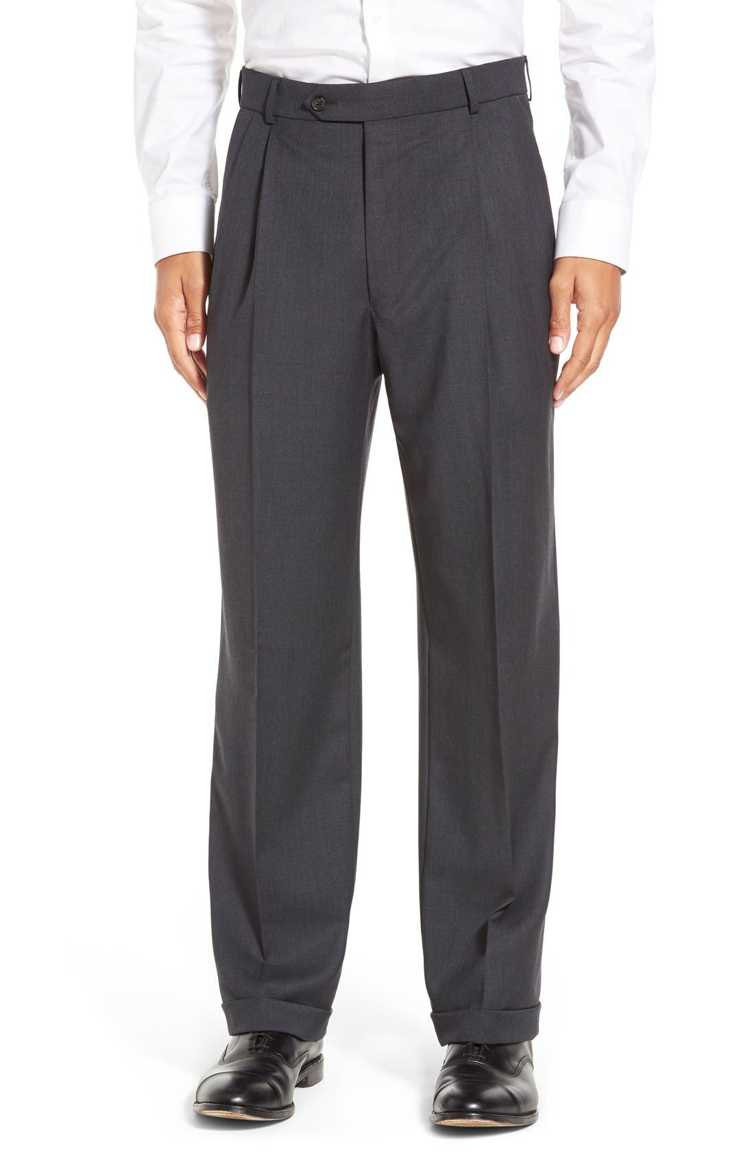 Pleated Solid Wool Trousers,                             Main thumbnail 4, color,