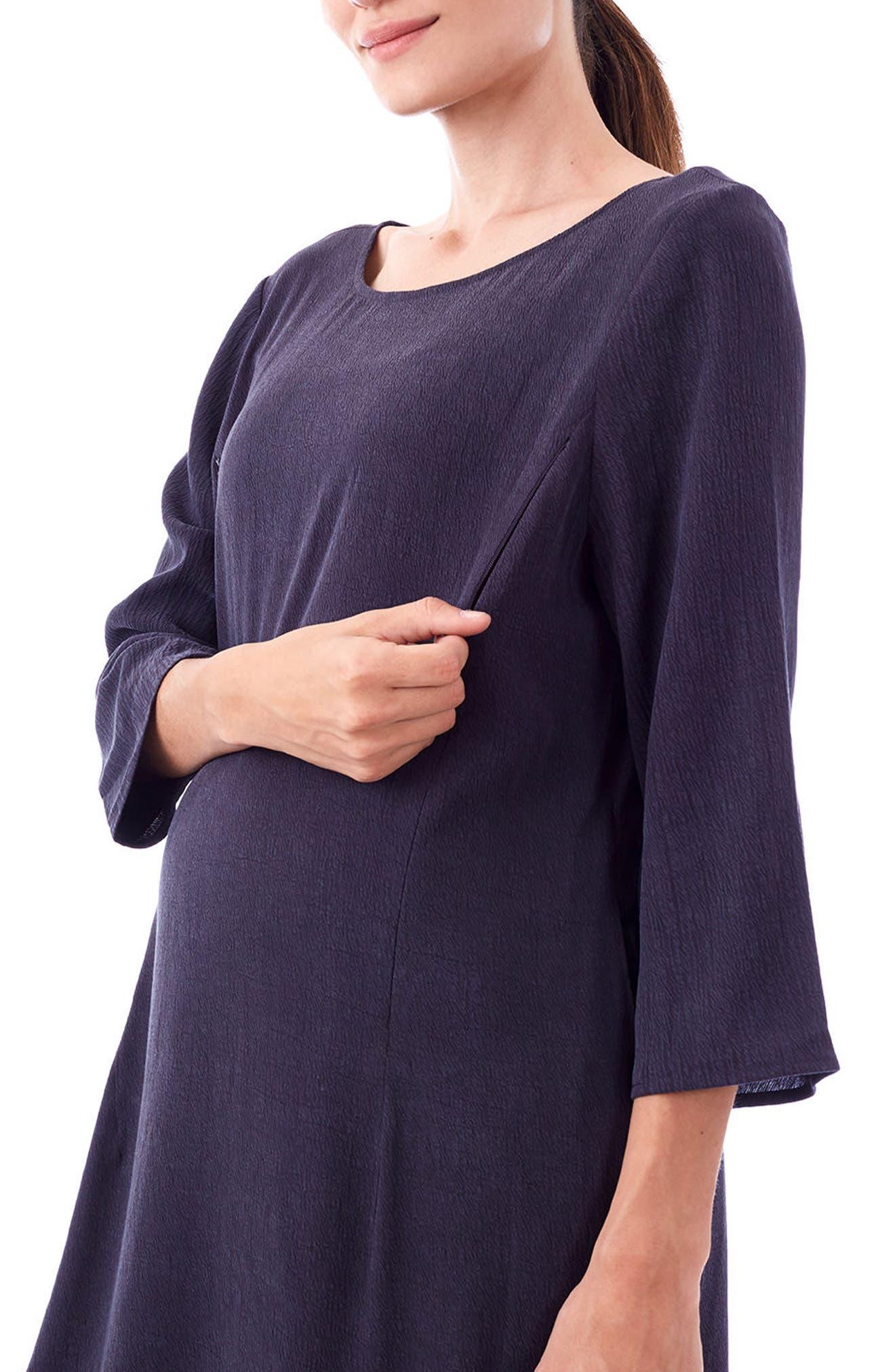 Layla Maternity/Nursing Dress,                             Alternate thumbnail 3, color,                             CHARCOAL