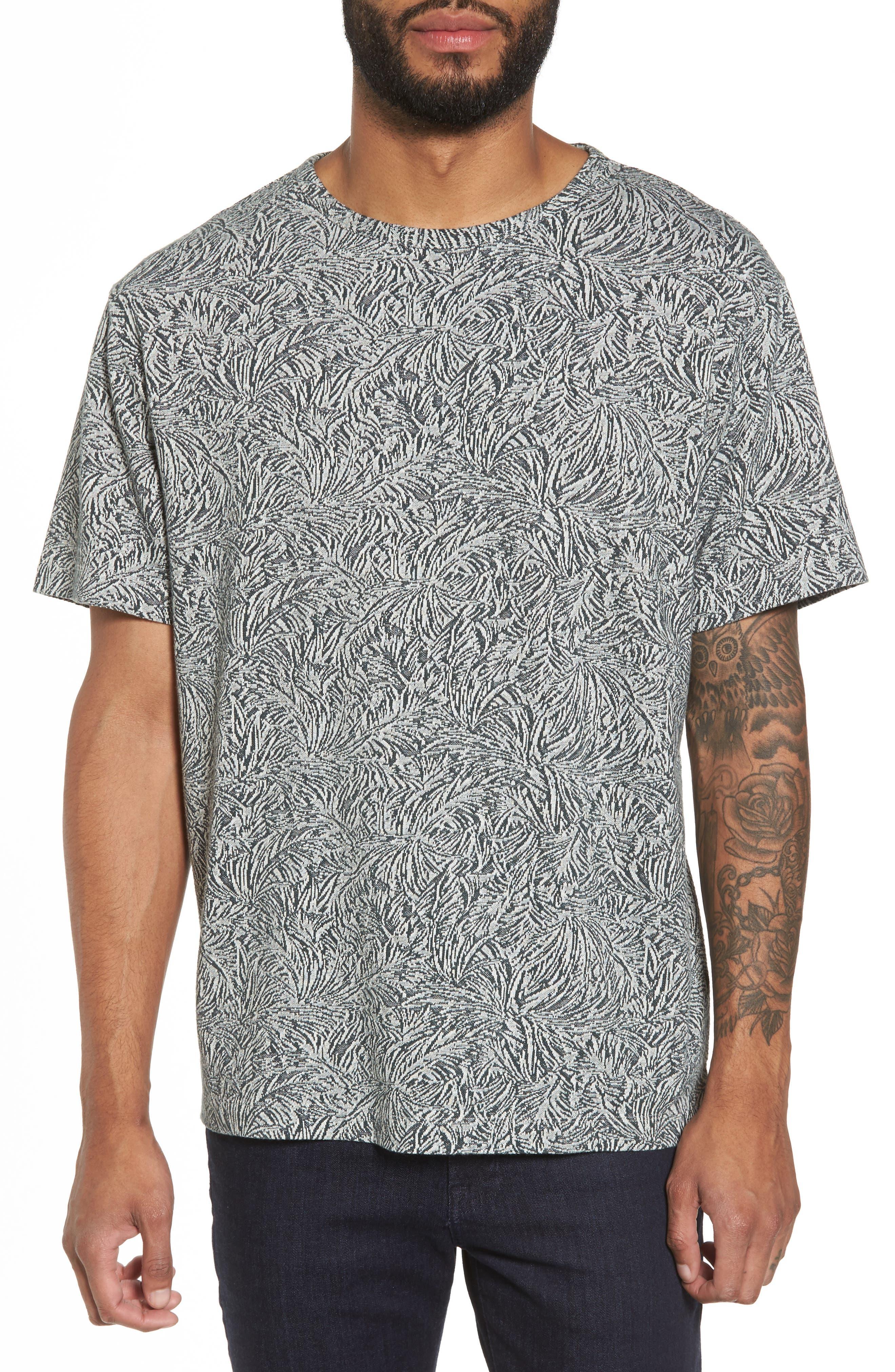 Palm Jacquard Crewneck T-Shirt,                             Main thumbnail 1, color,                             177