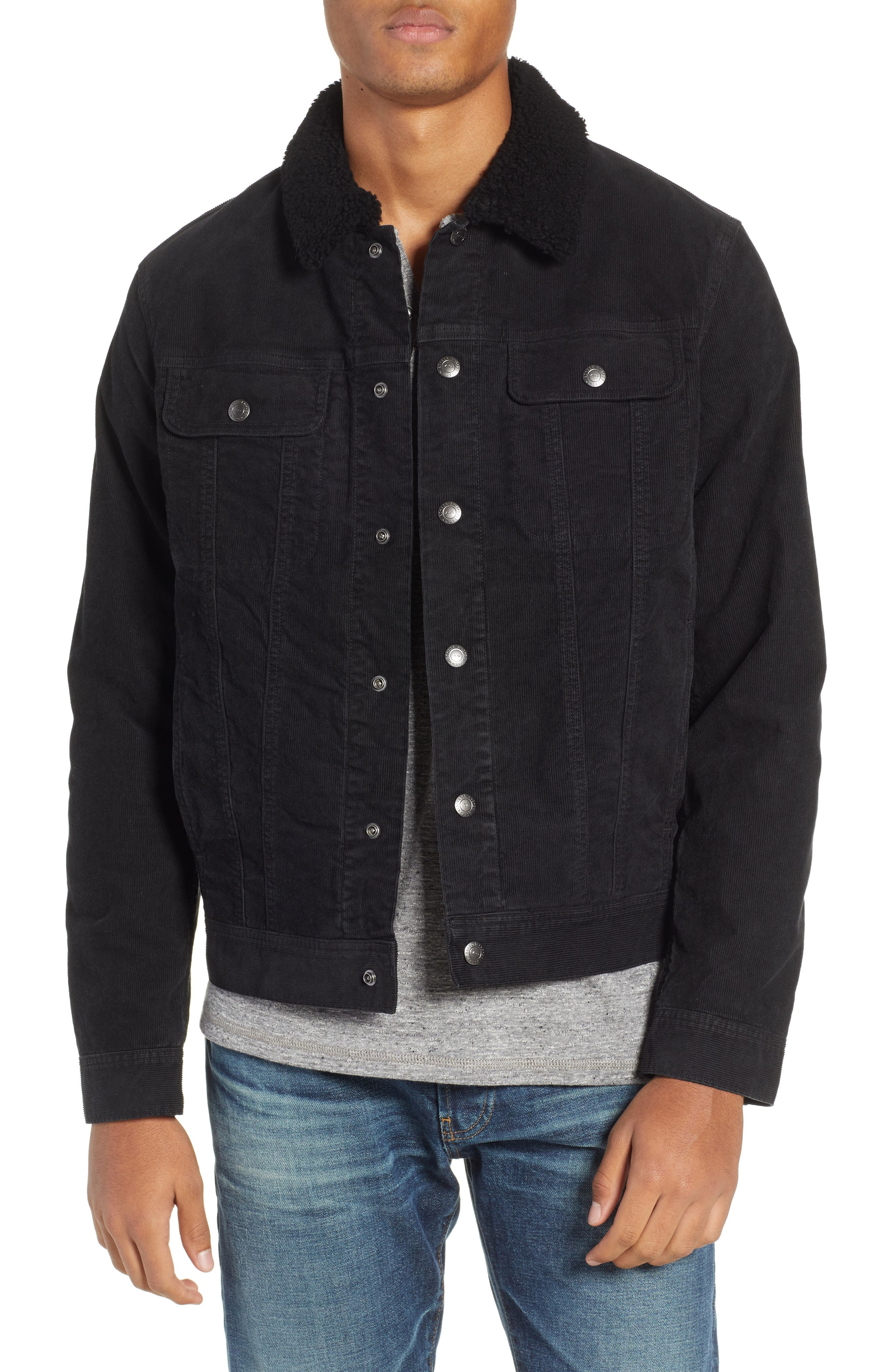 The Dart Corduroy Jacket with Genuine Shearling Collar,                             Main thumbnail 1, color,                             SULFUR BLACK
