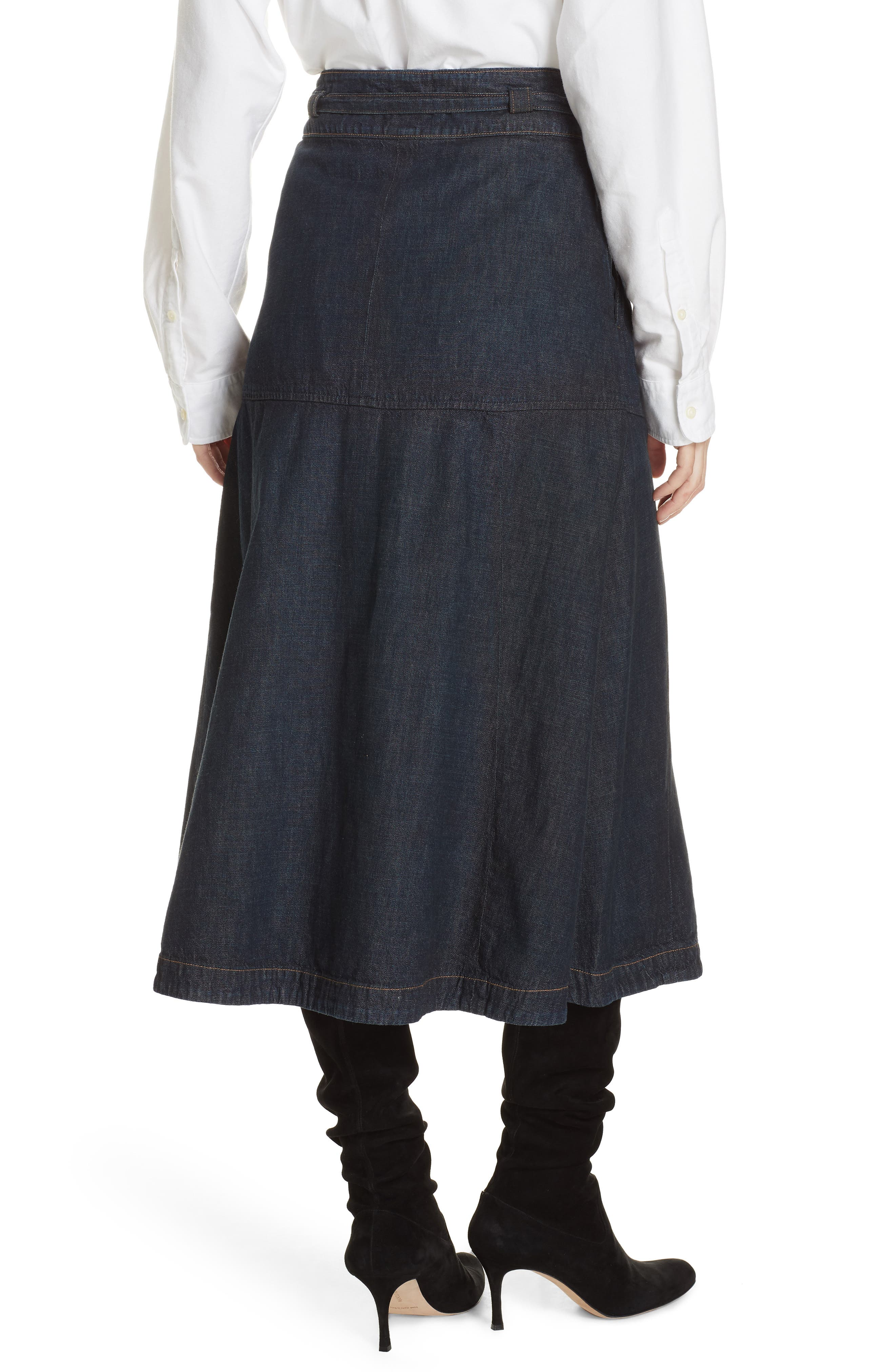 Denim Midi Skirt,                             Alternate thumbnail 2, color,                             DARK INDIGO