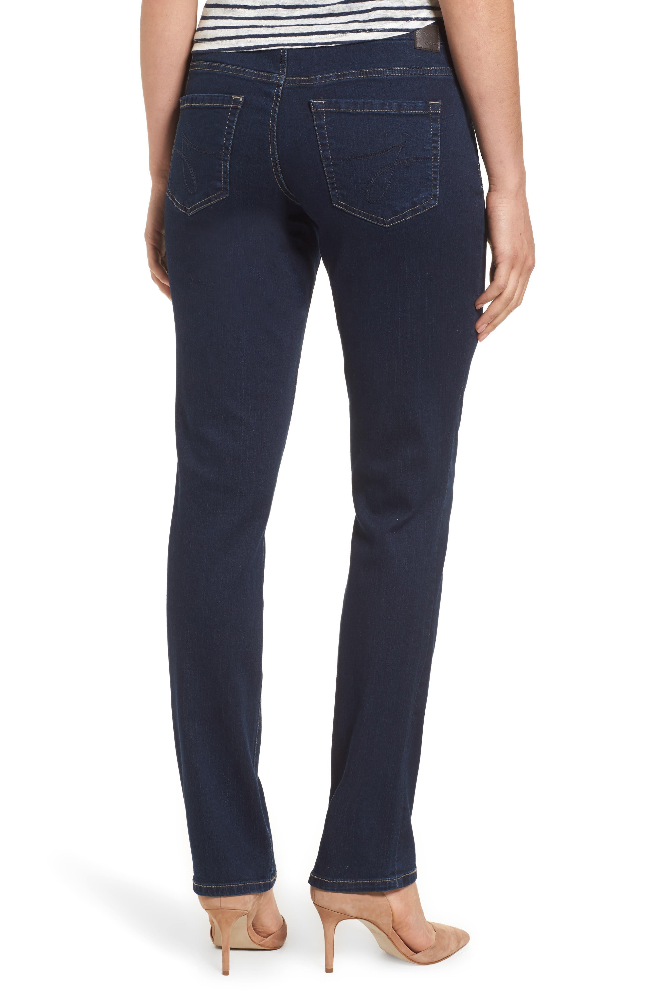 Peri Pull-On Straight Leg Jeans,                             Alternate thumbnail 2, color,                             DARK INDIGO
