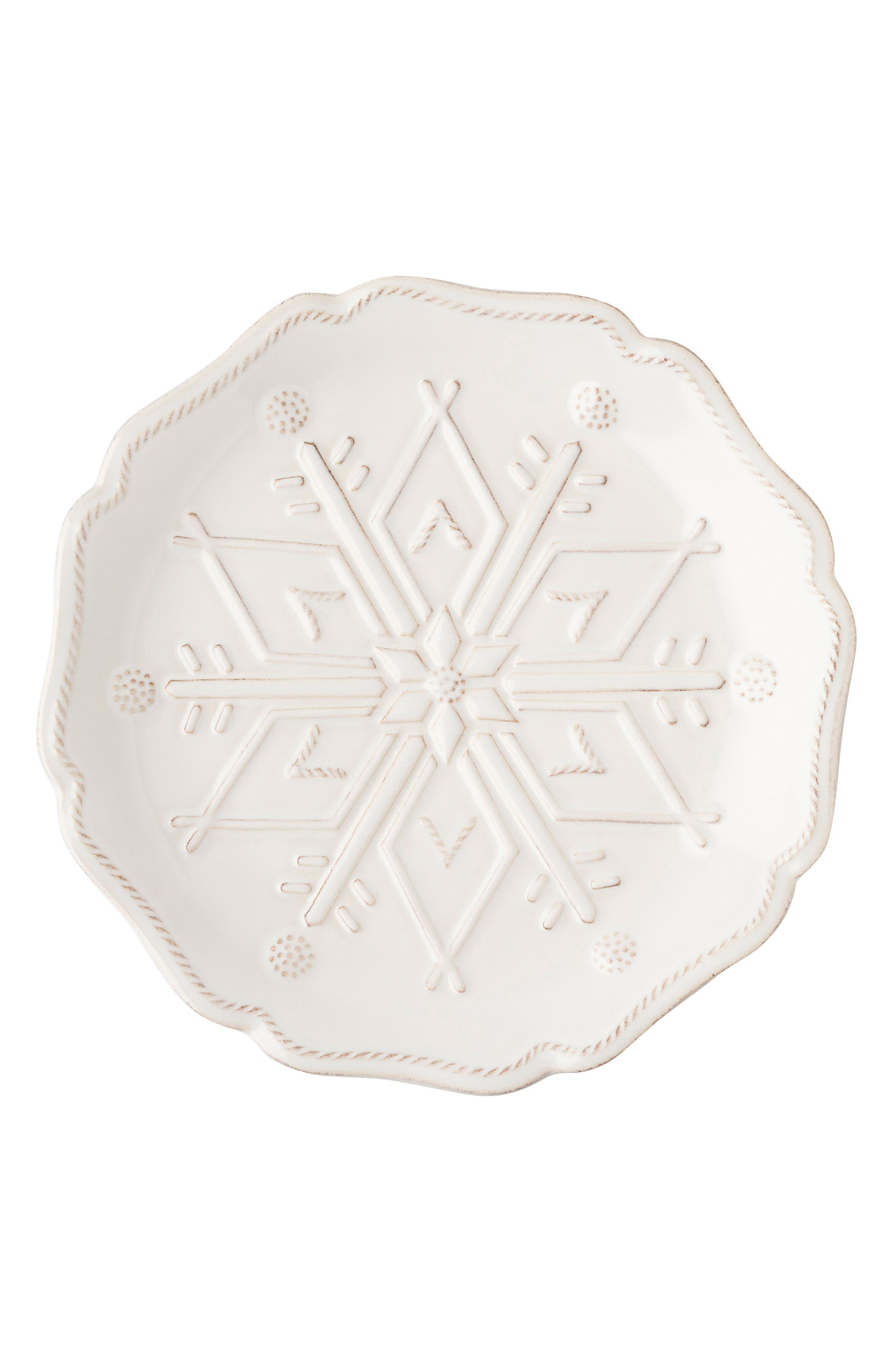 Snowfall Whitewash Set of 4 Ceramic Tidbit Plates,                             Alternate thumbnail 4, color,                             100