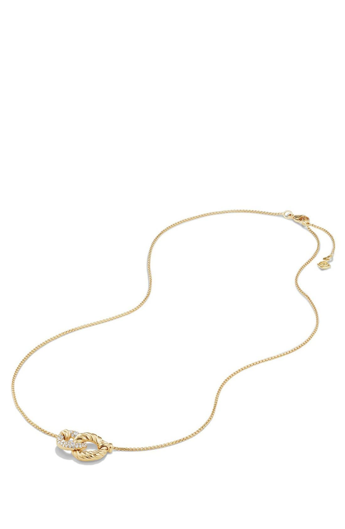 Belmont Extra-Small Double Curb Link Necklace with Diamonds in 18K Gold,                             Alternate thumbnail 3, color,                             YELLOW GOLD/ DIAMOND