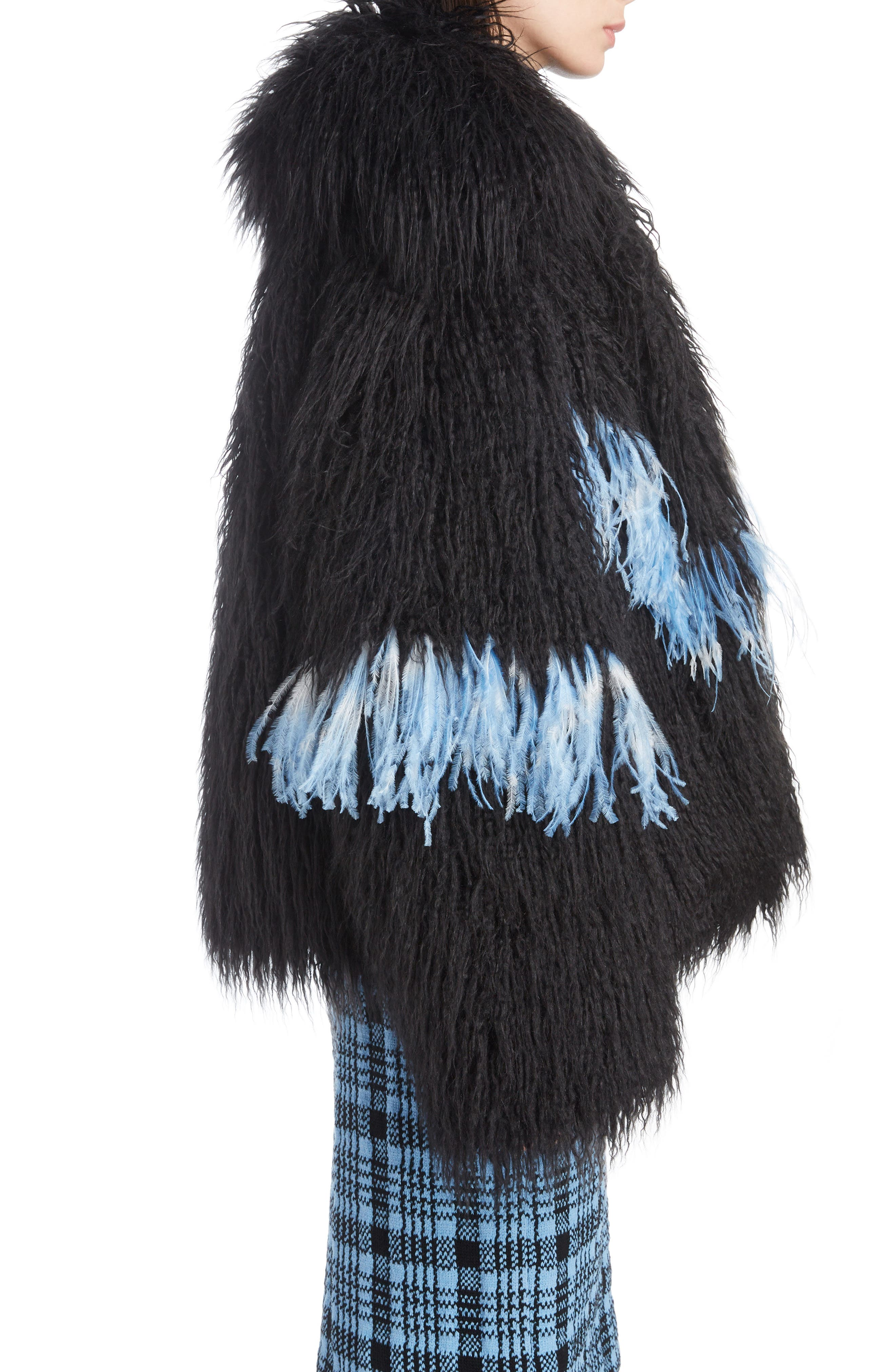 Feather Trim Faux Fur Jacket,                             Alternate thumbnail 3, color,                             BLACK