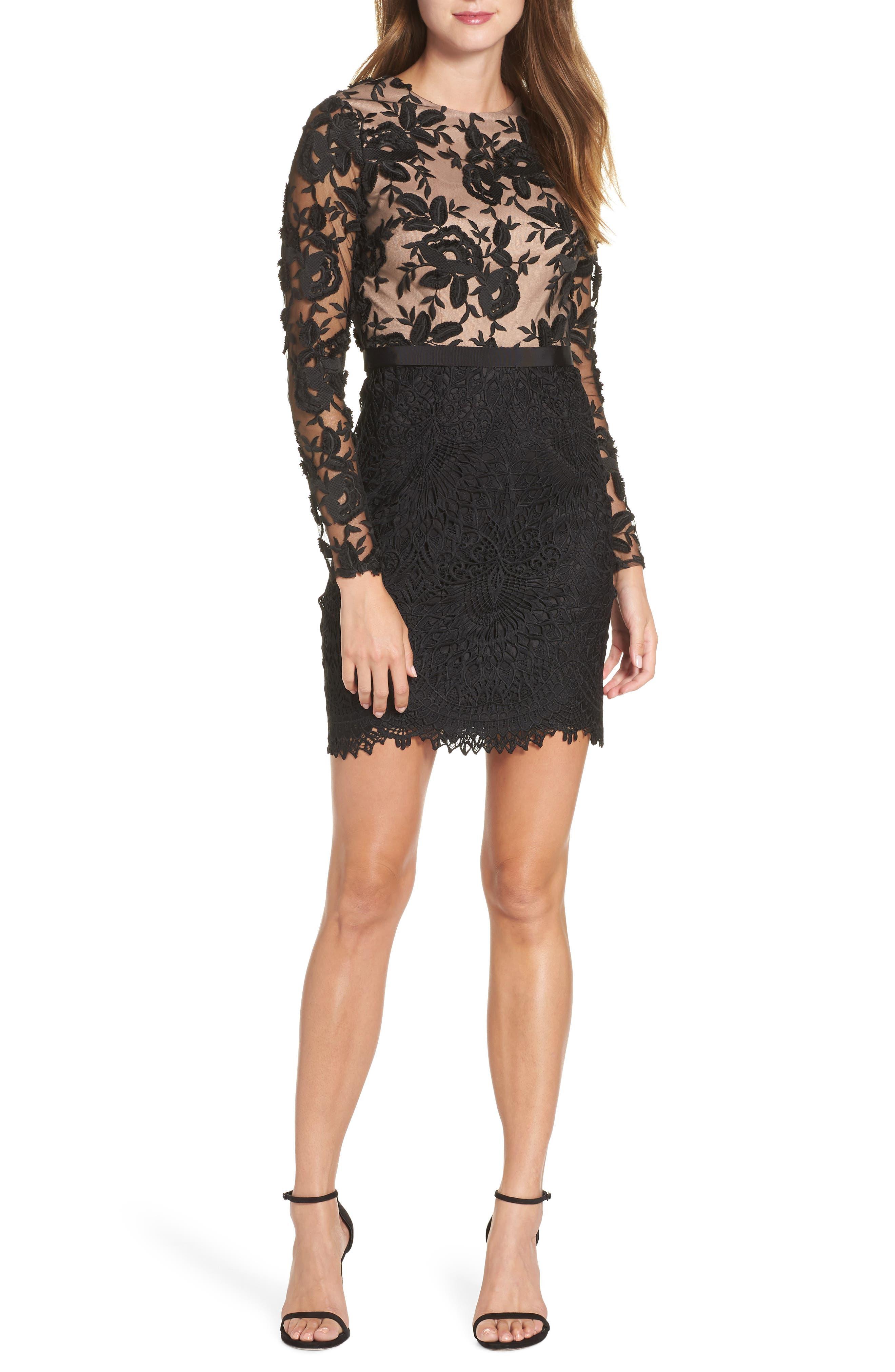 Calypso Lace Sheath Dress,                             Main thumbnail 1, color,                             BLACK/ NUDE