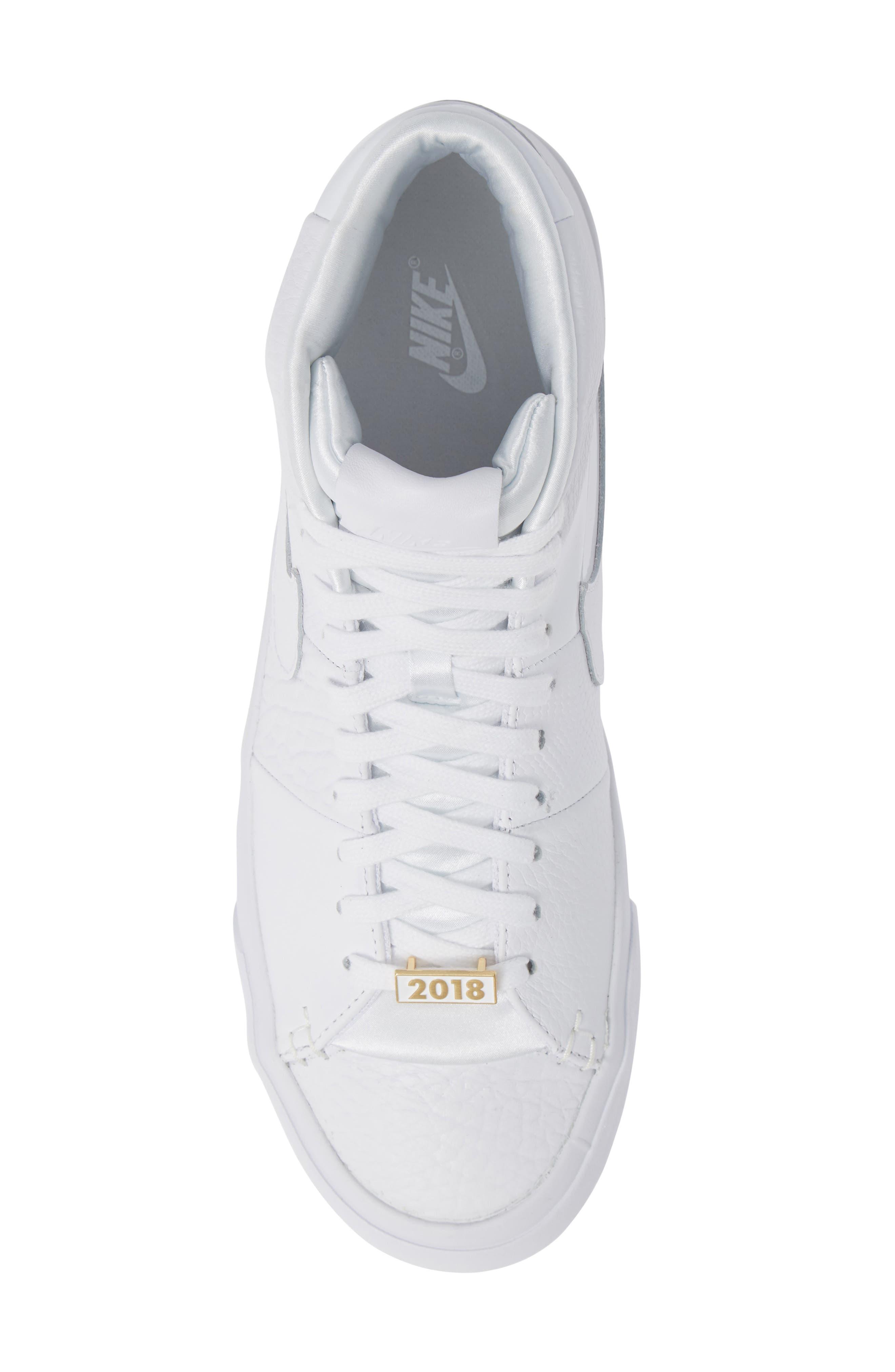 Blazer Royal QS High Top Sneaker,                             Alternate thumbnail 5, color,                             WHITE/ WHITE/ WHITE