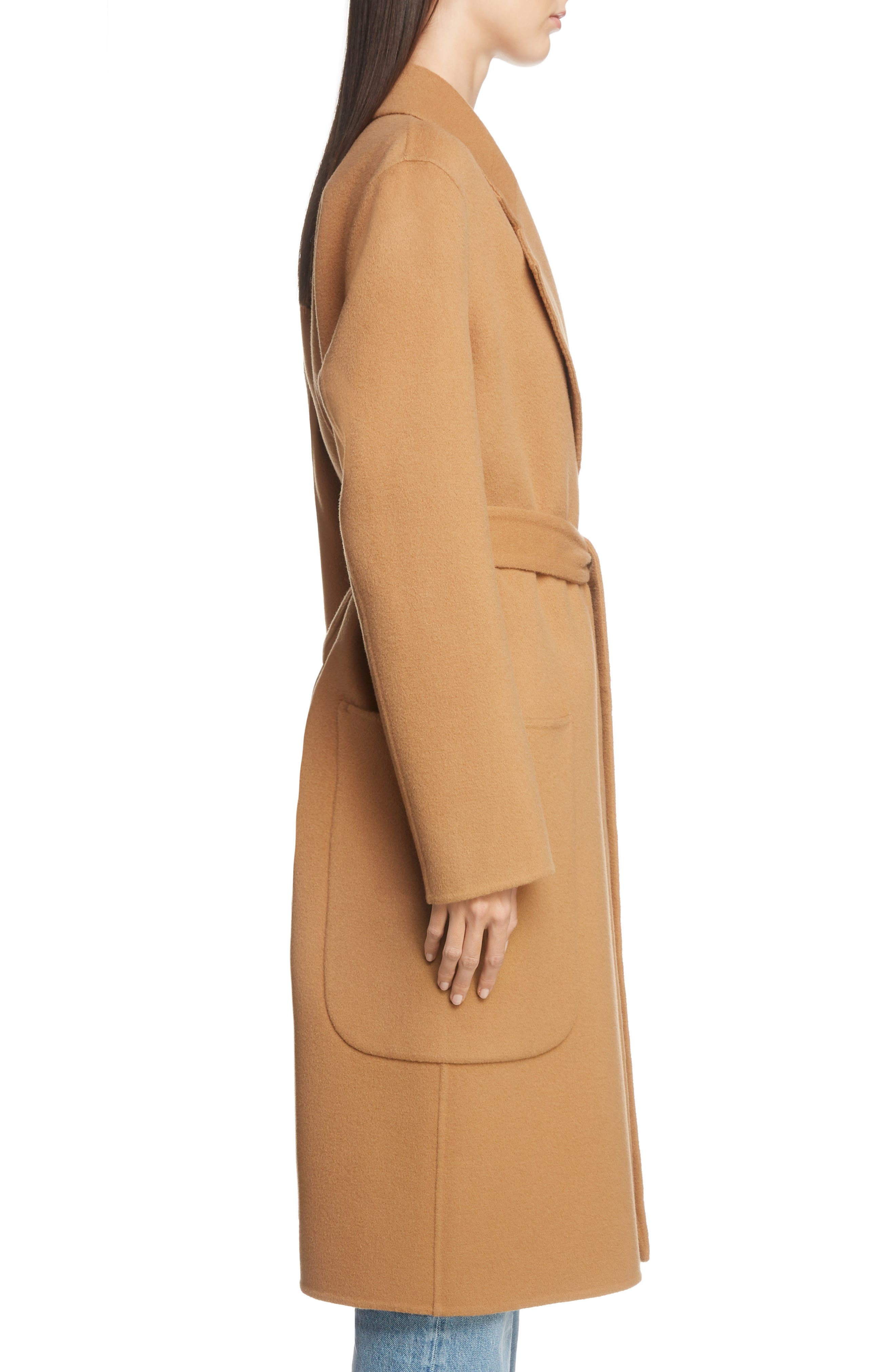 Belted Double Wool & Cashmere Coat,                             Alternate thumbnail 3, color,                             CAMEL BROWN