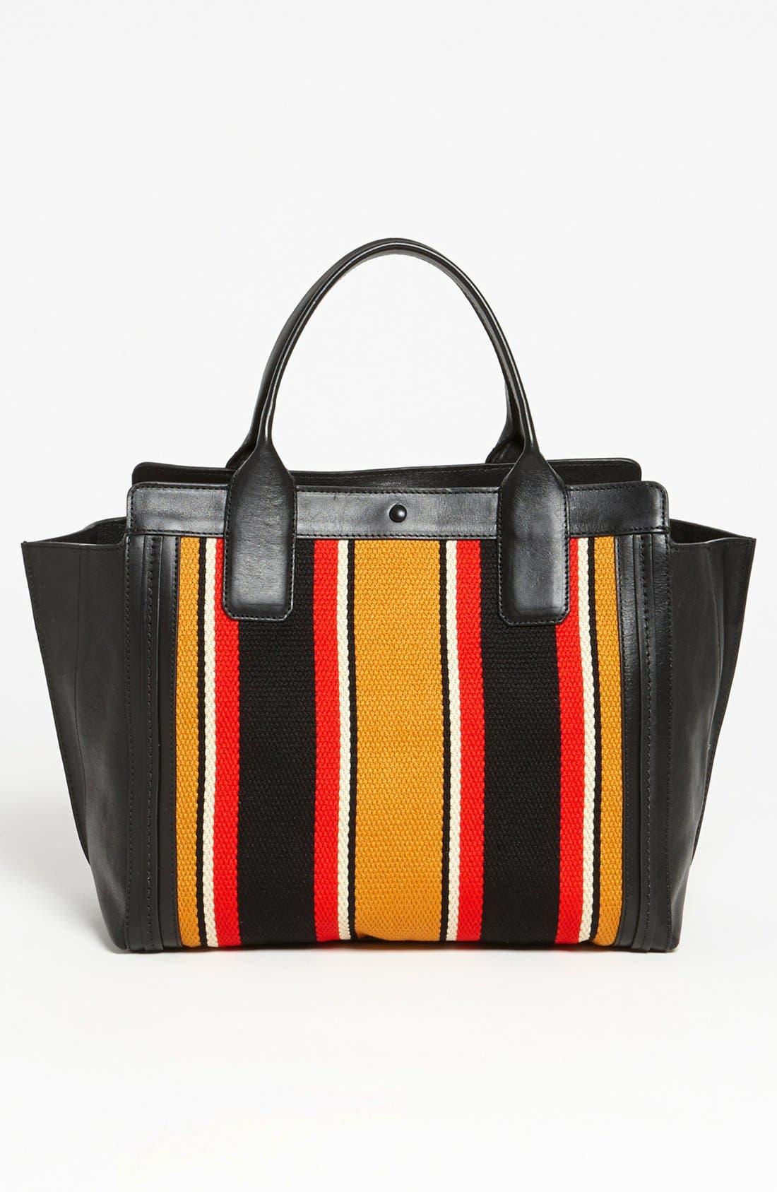 CHLOÉ,                             'Alison - Mini' Stripe Inset Leather Tote,                             Alternate thumbnail 4, color,                             840