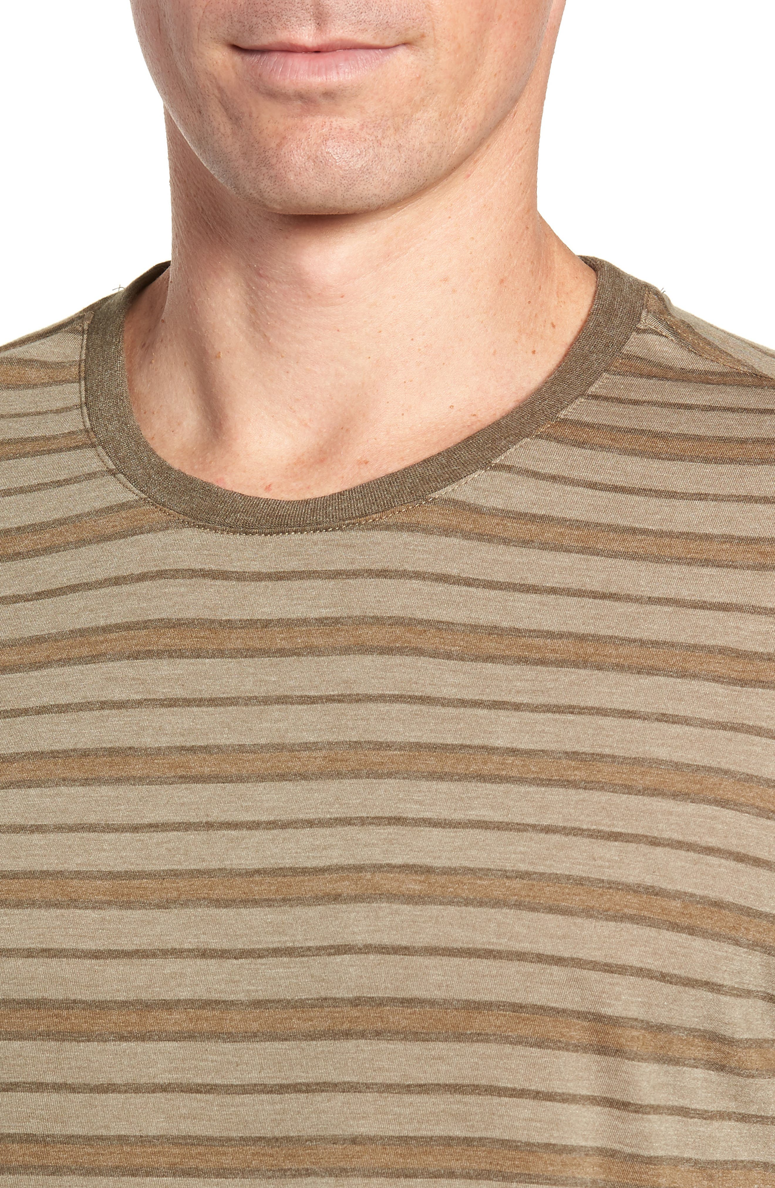 Stripe Cotton Blend Long Sleeve T-Shirt,                             Alternate thumbnail 4, color,                             ARMY
