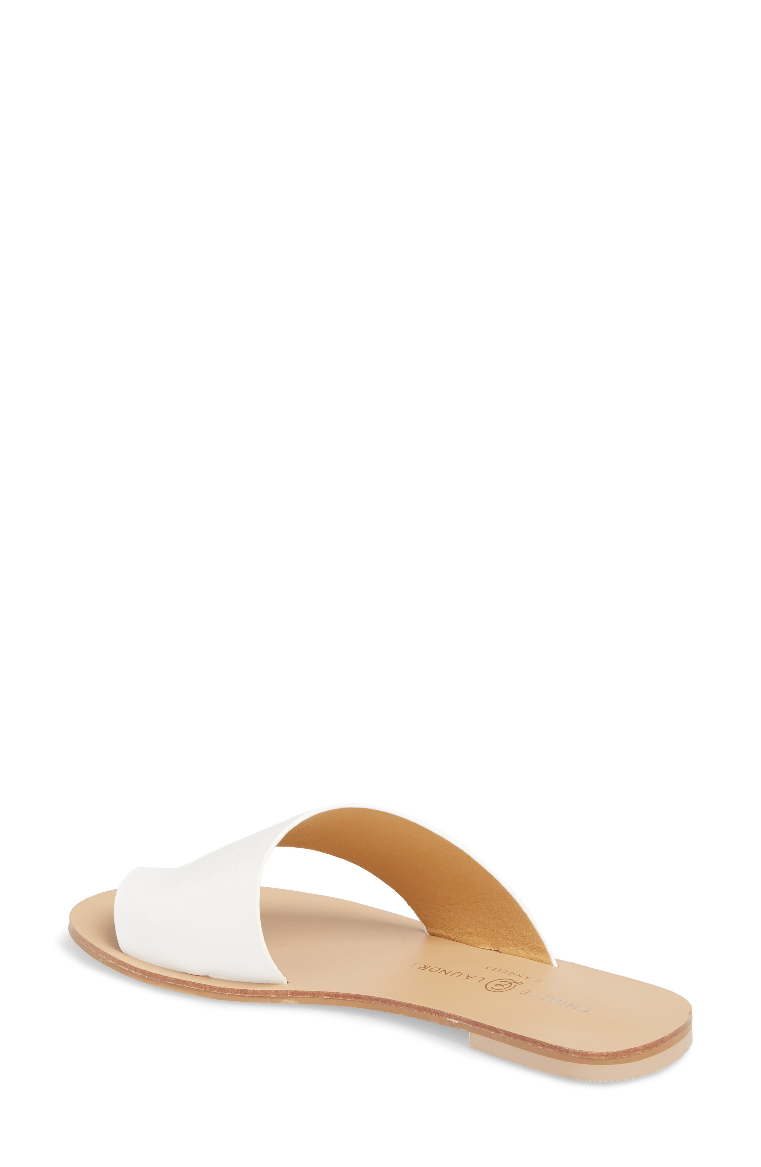 Glory Asymmetrical Slide Sandal,                             Alternate thumbnail 2, color,                             WHITE