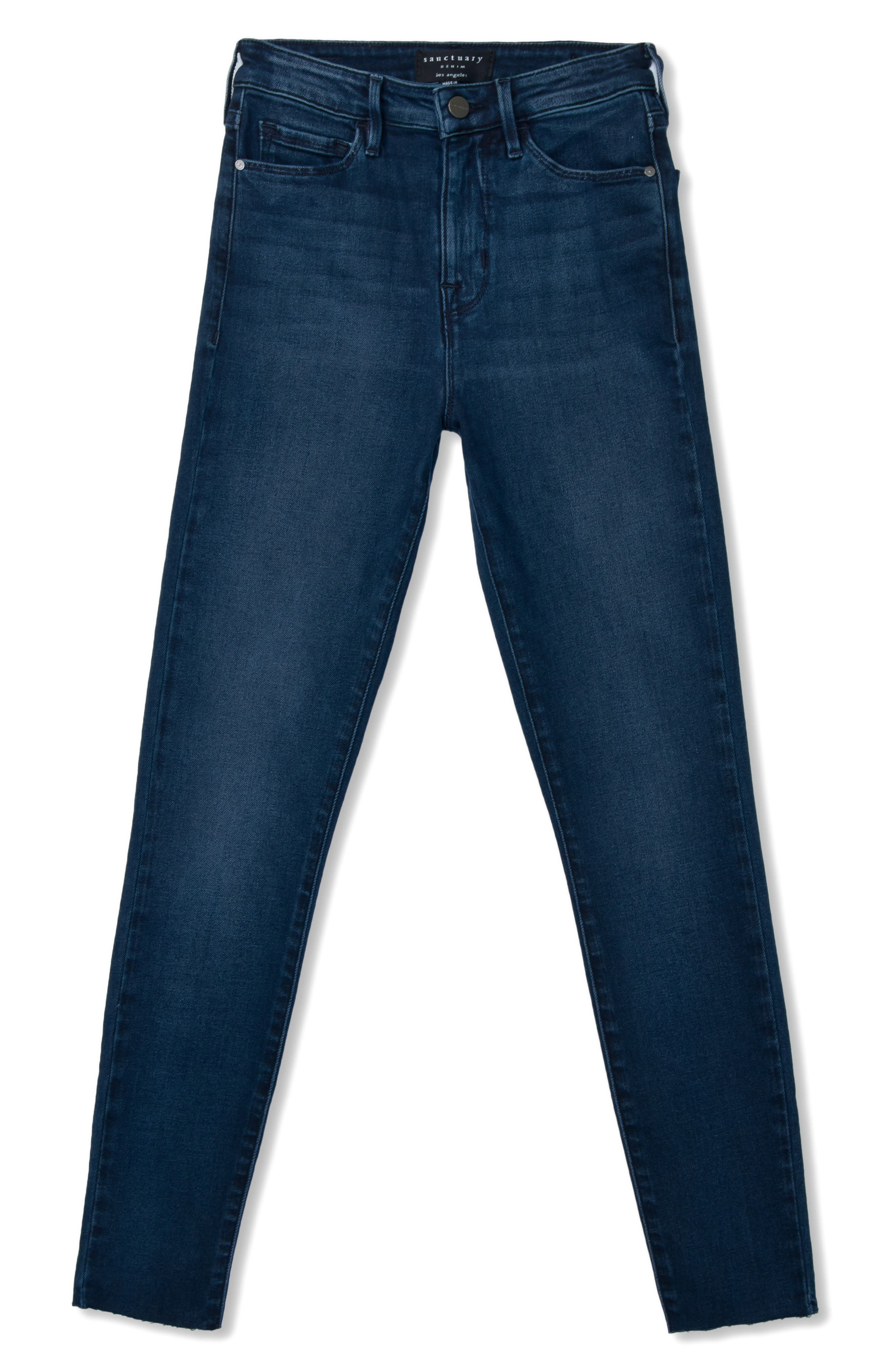 SANCTUARY,                             Social High Rise Raw Hem Skinny Ankle Jeans,                             Alternate thumbnail 4, color,                             401