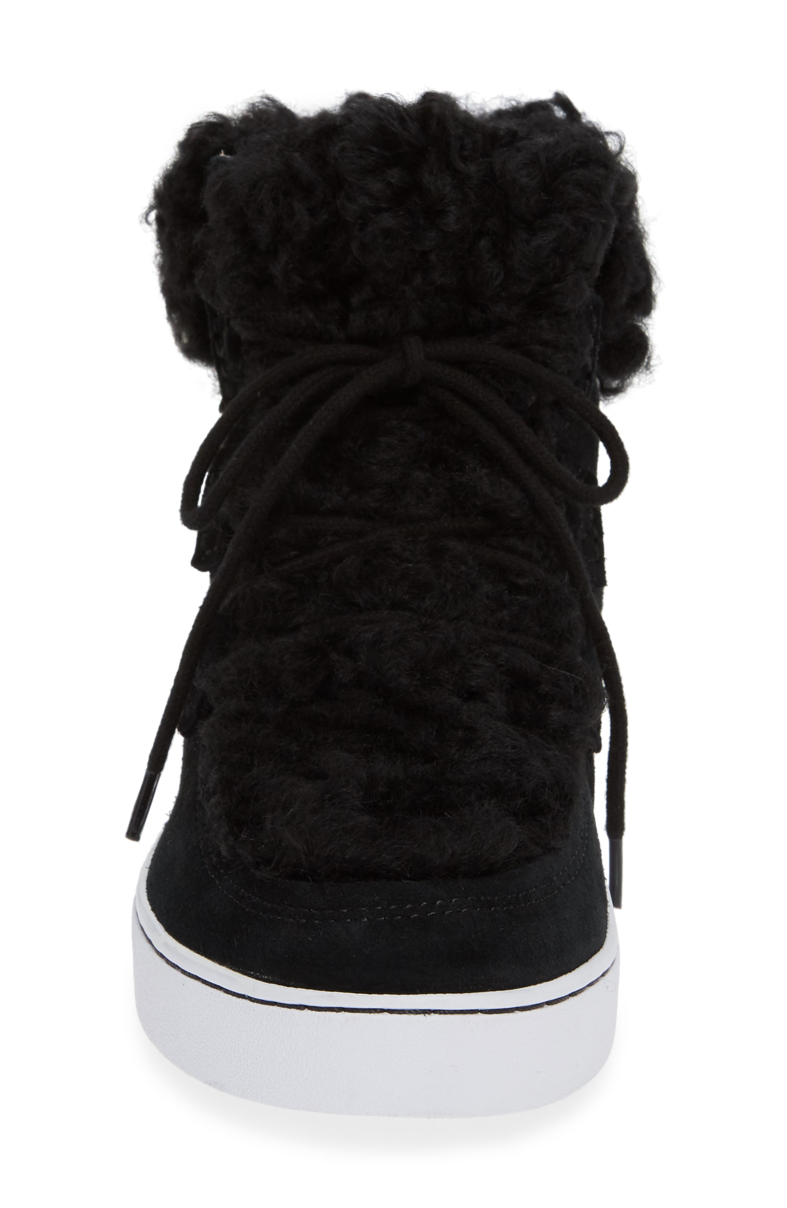 Oak Genuine Shearling Cuff Sneaker Bootie,                             Alternate thumbnail 4, color,                             BLACK SUEDE