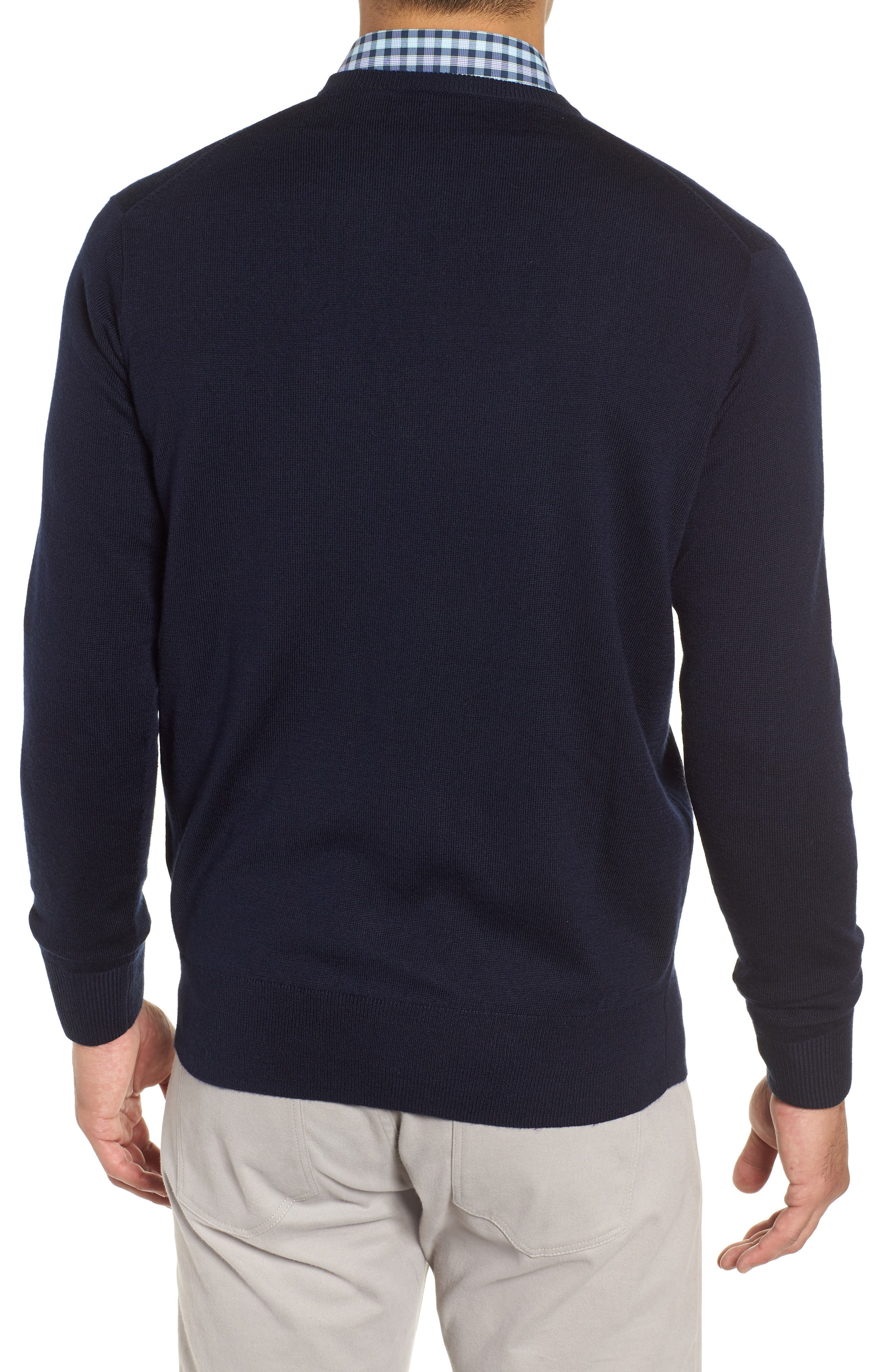 Wool & Silk V-Neck Sweater,                             Alternate thumbnail 2, color,                             NAVY