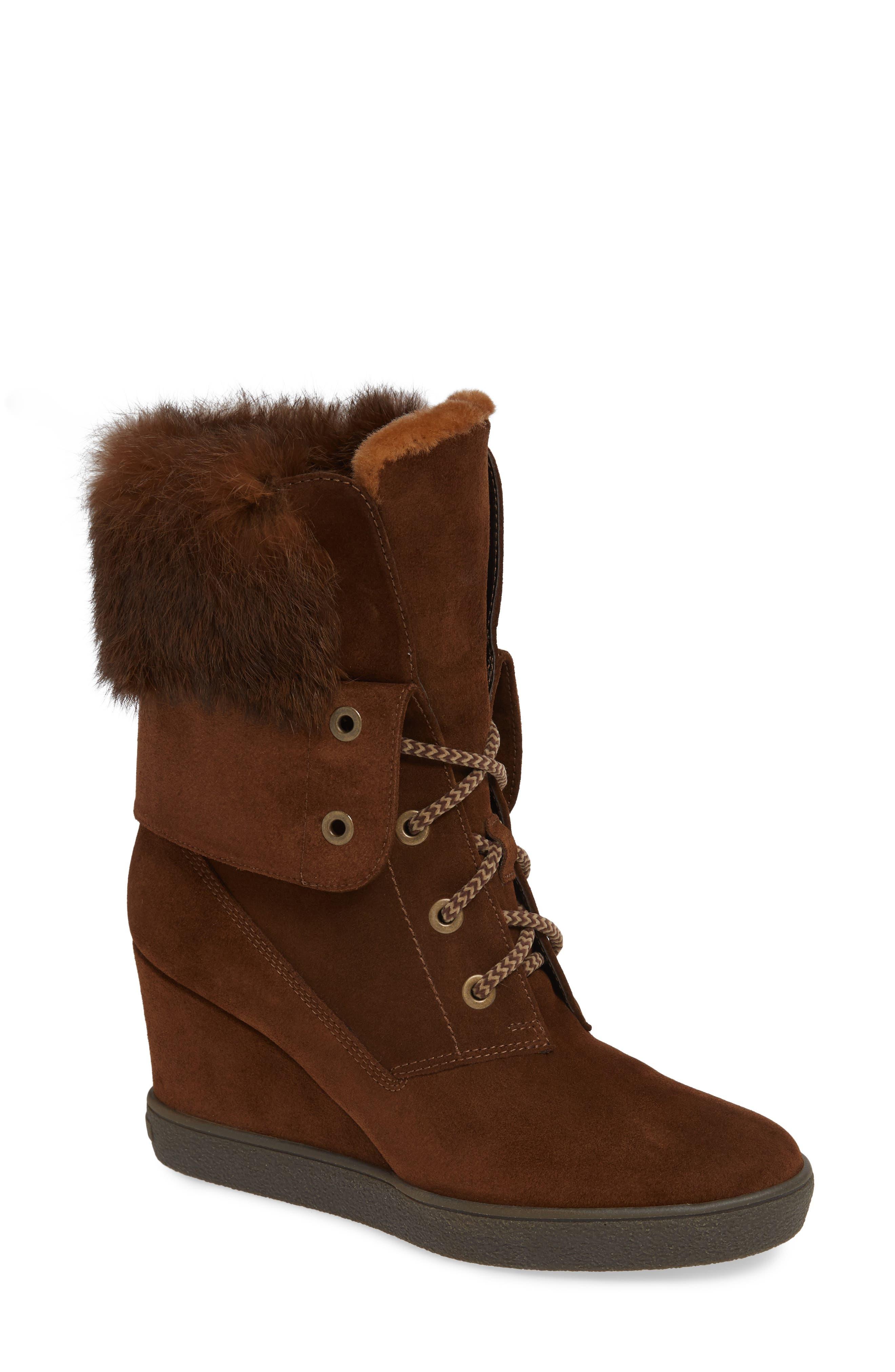 Aquatalia Cordelia Water Resistant Genuine Rabbit Fur Boot, Brown