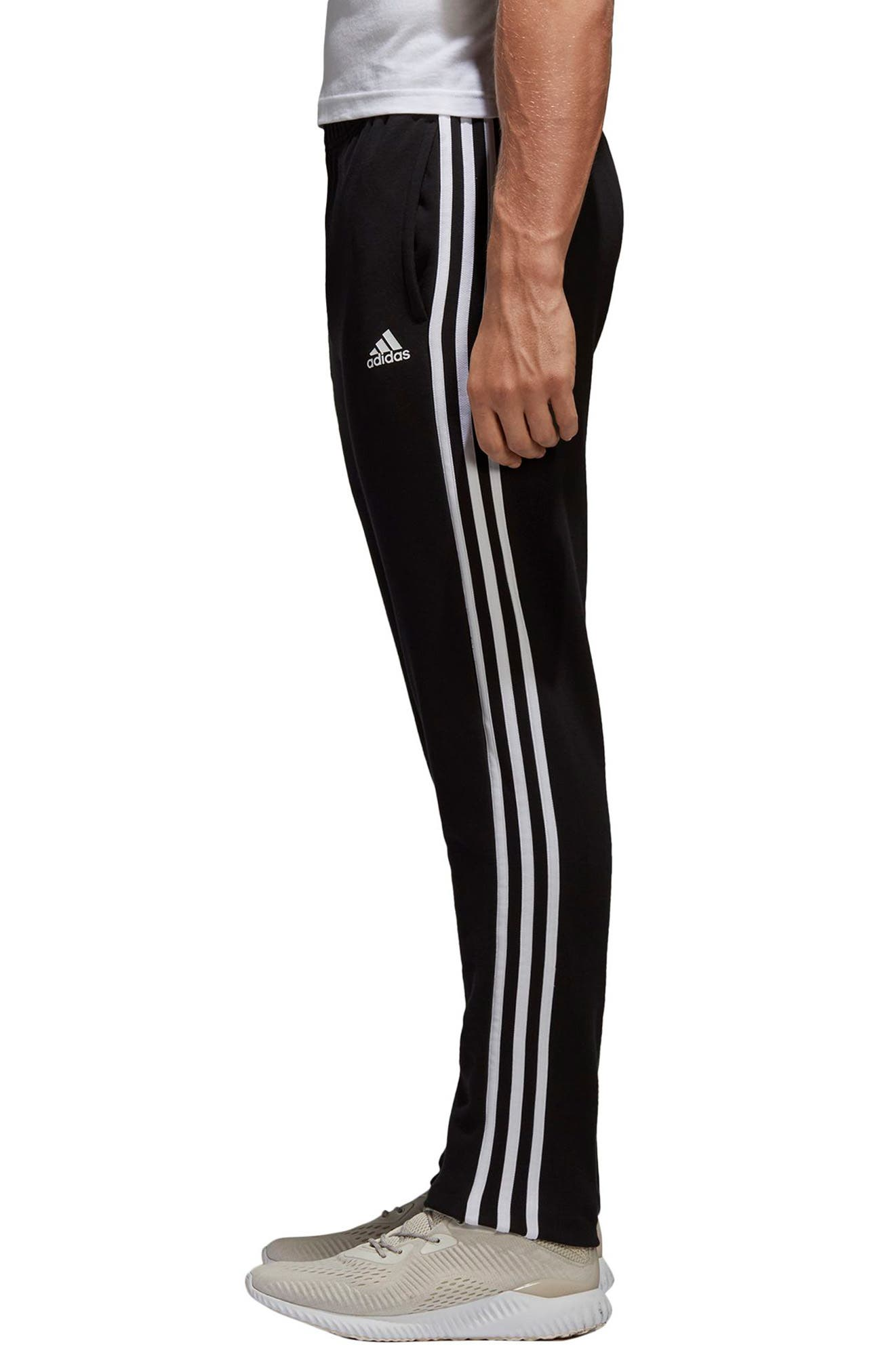Essentials 3-Stripes Regular Fit Sweatpants,                             Alternate thumbnail 3, color,                             BLACK/ WHITE