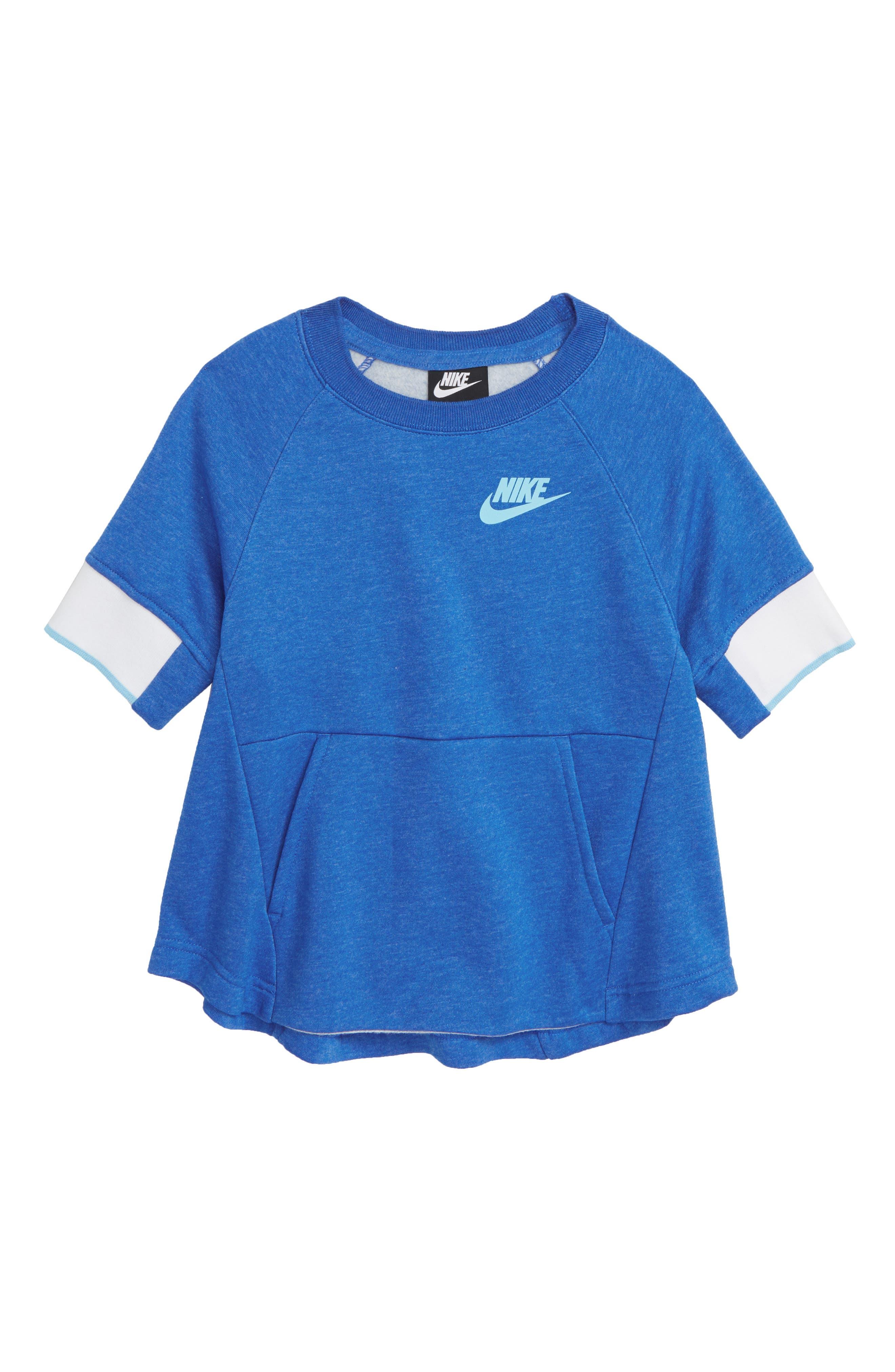 Sportswear Crewneck Pullover,                         Main,                         color, SIGNAL BLUE/ HTR/ BLUE CHILL