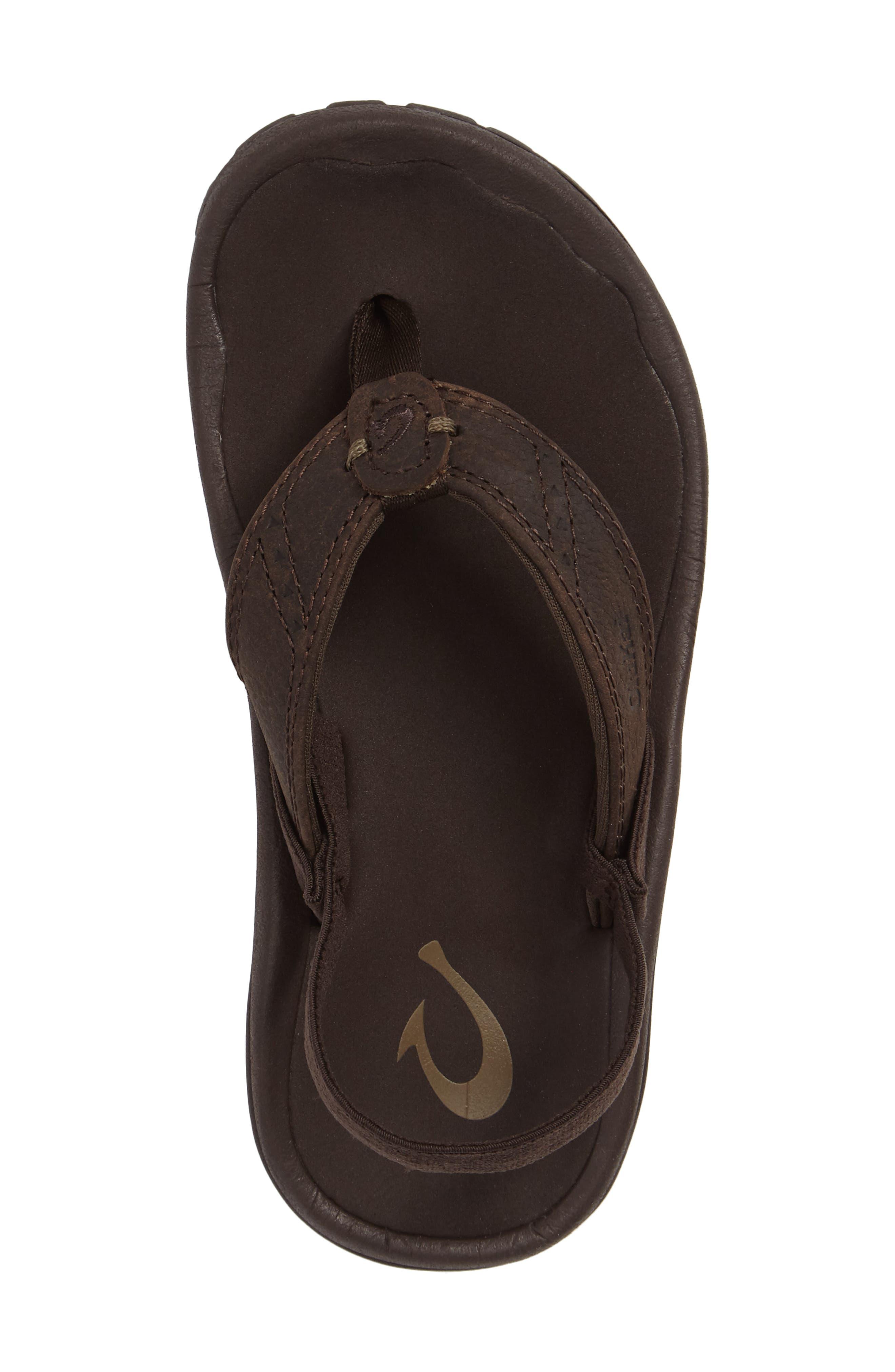 OLUKAI,                             Nui Leather Sandal,                             Alternate thumbnail 5, color,                             SEAL BROWN/ DARK JAVA