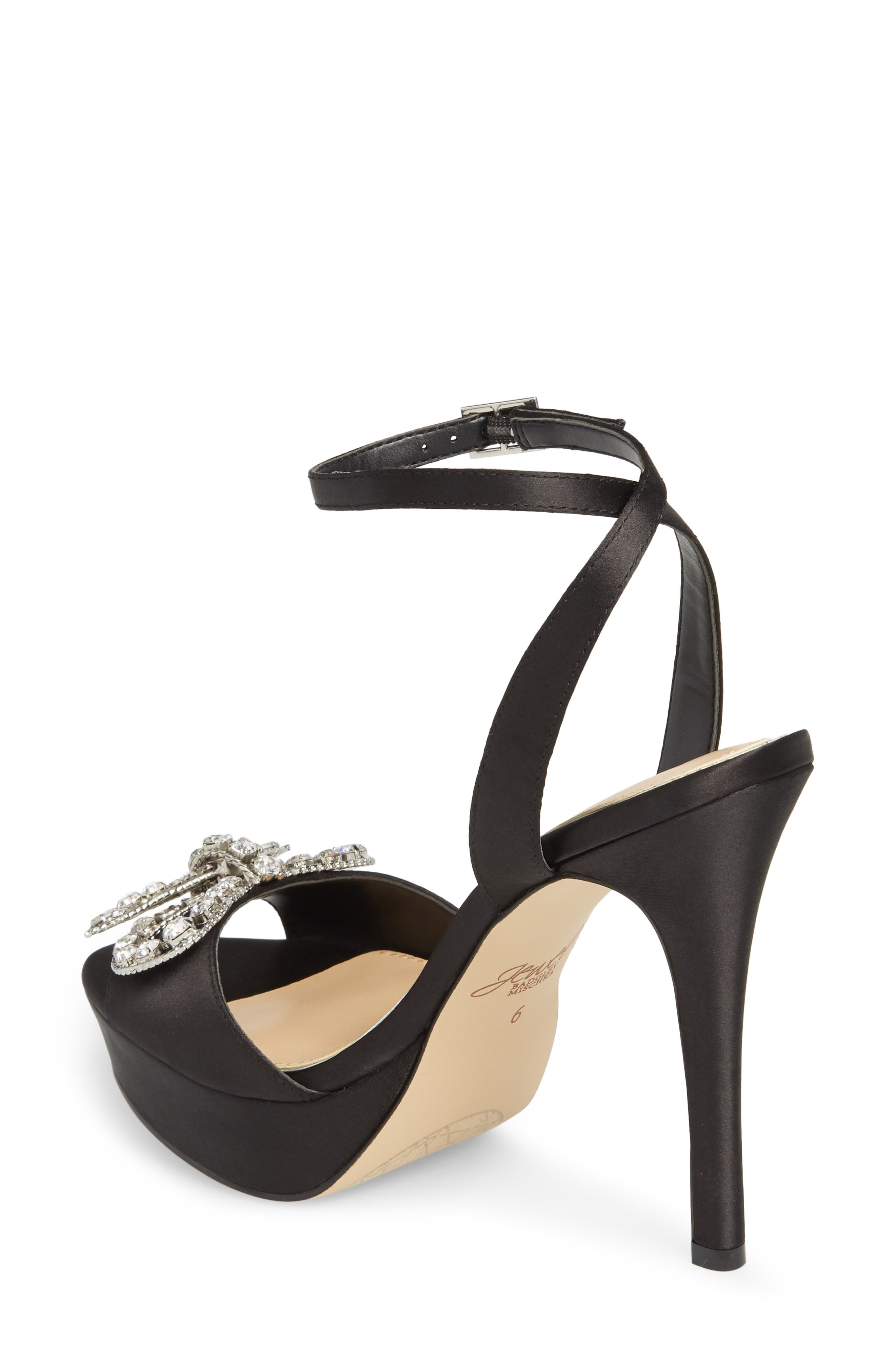 Mildred Crystal Bow Platform Sandal,                             Alternate thumbnail 2, color,                             BLACK SATIN