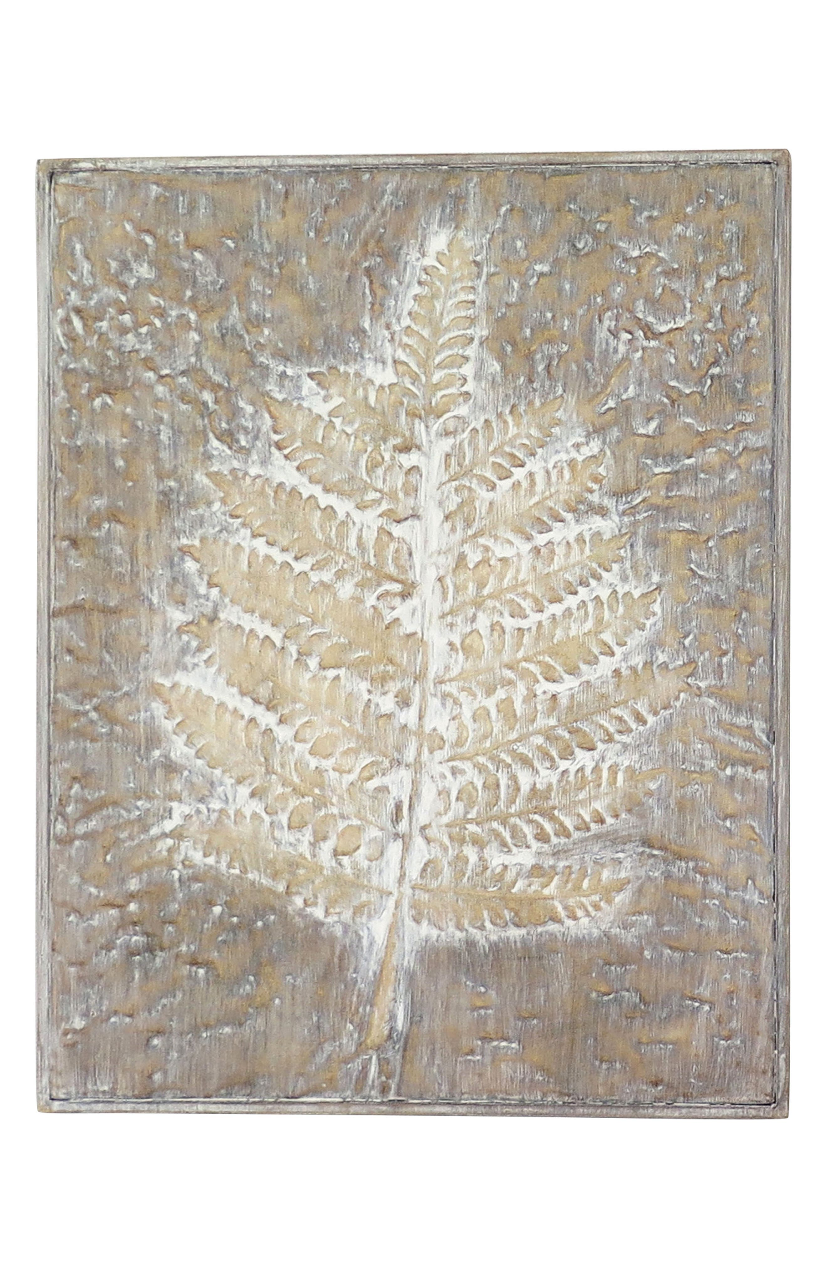 Embossed Leaf Wood Wall Art,                             Main thumbnail 1, color,                             WOOD