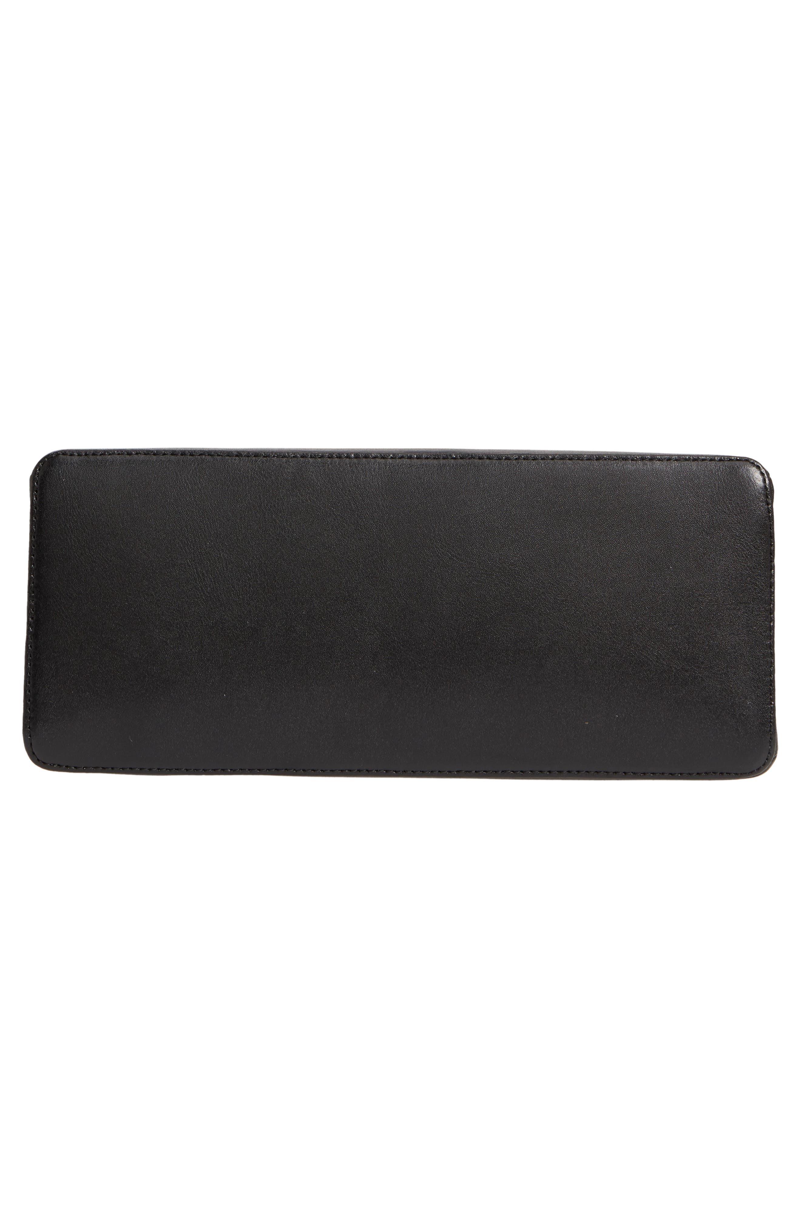 Crystal Bar Leather Top Handle Satchel,                             Alternate thumbnail 6, color,                             001