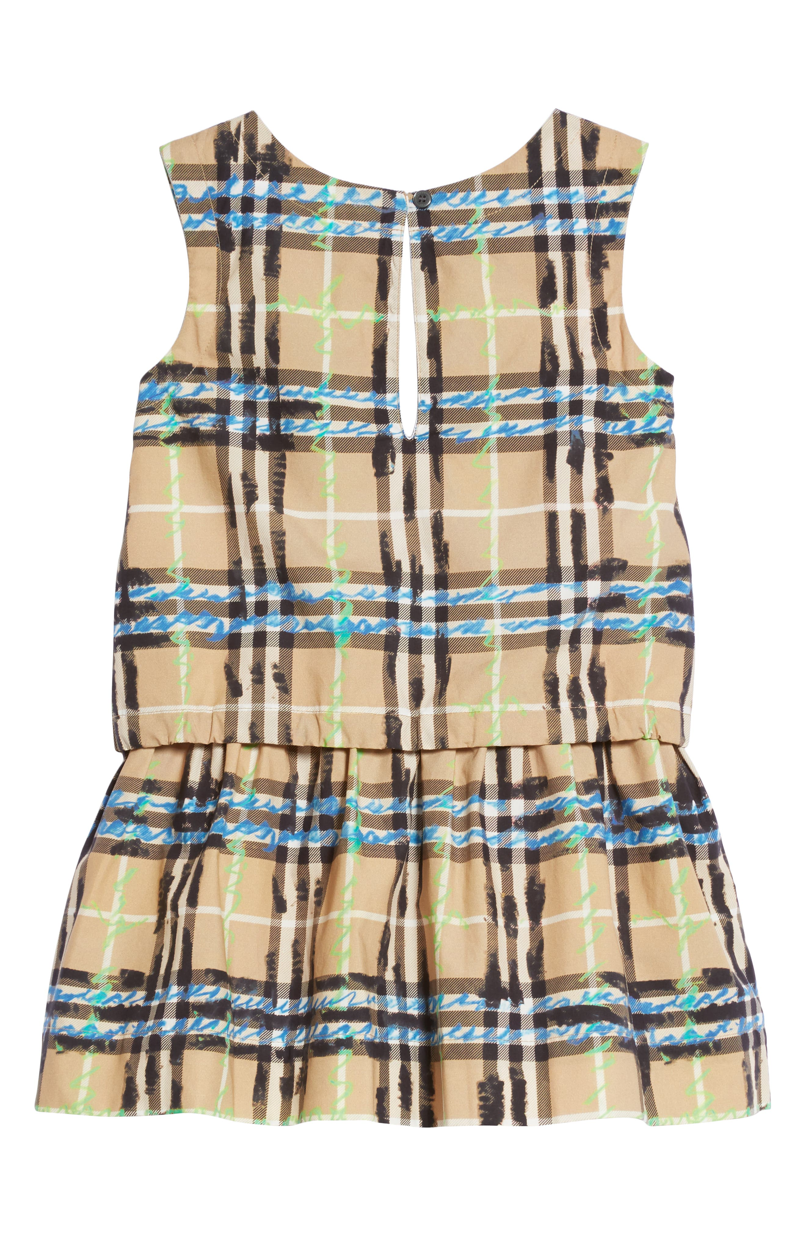 Mini Mabel Scribble Check Dress,                             Alternate thumbnail 2, color,                             BRIGHT BLUE