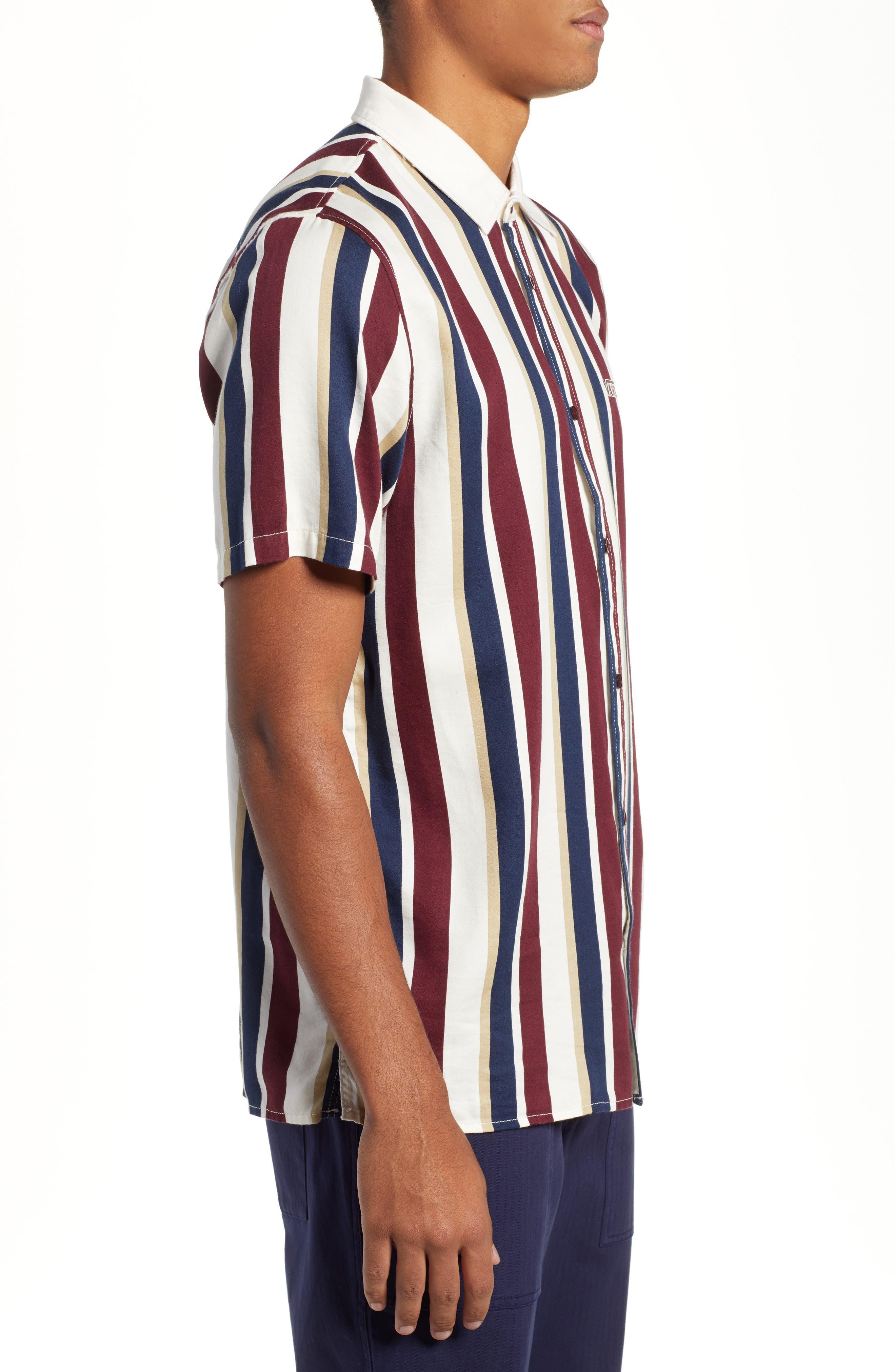 Big Bars Short Sleeve Shirt,                             Alternate thumbnail 4, color,                             OFF WHITE
