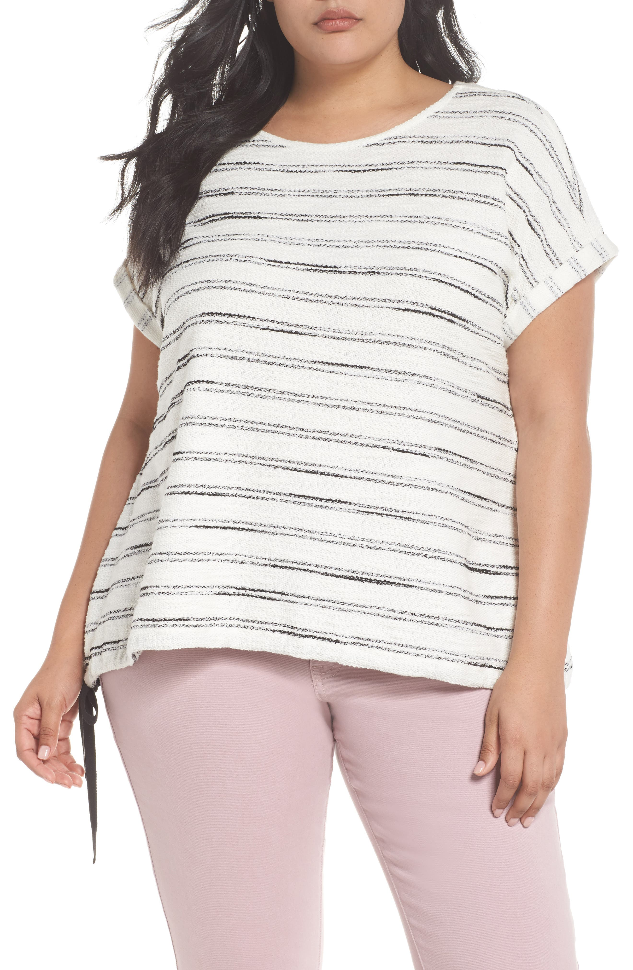 Drawstring Waist Nubby Stripe Top,                         Main,                         color, 001