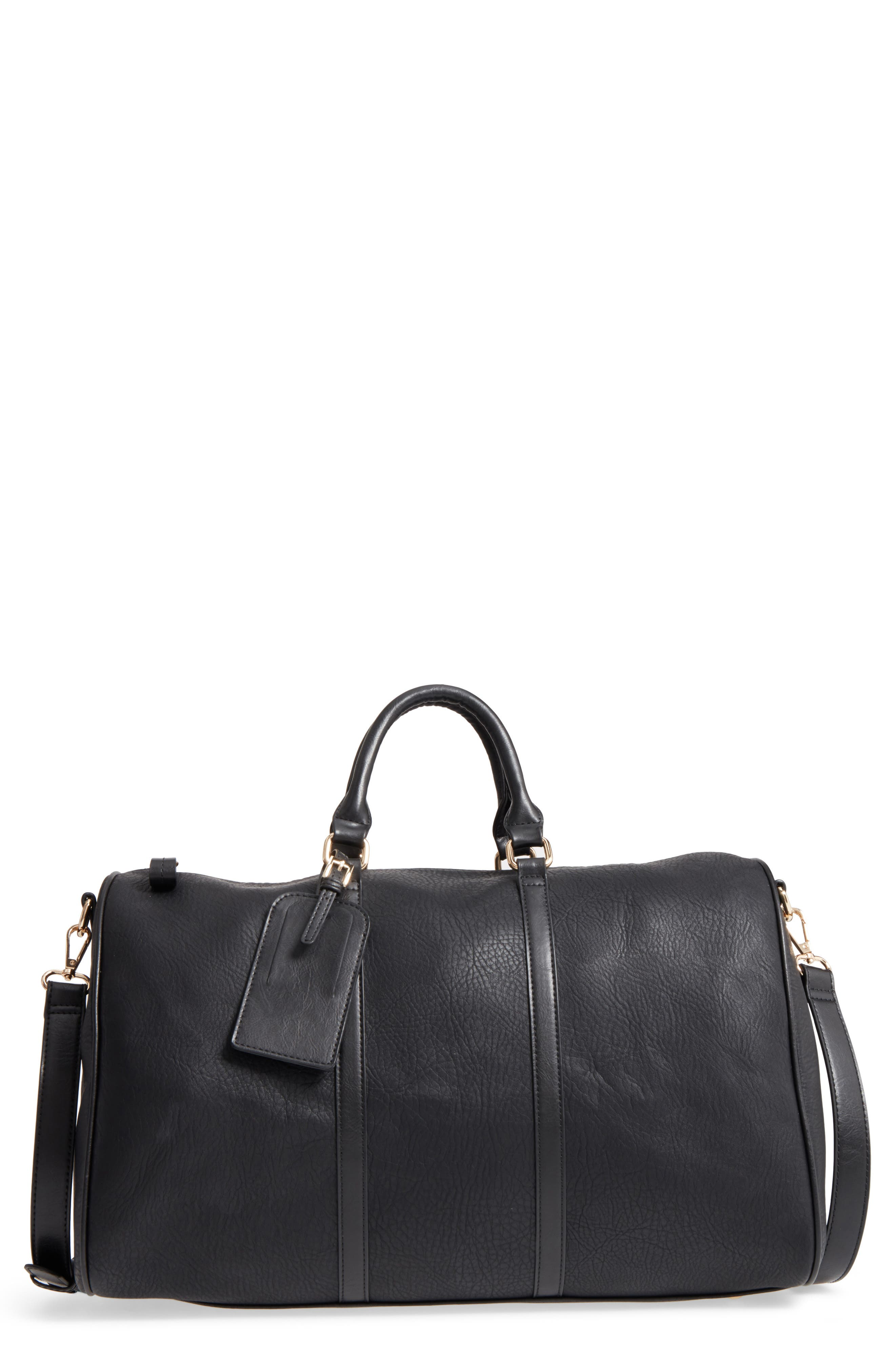 'Cassidy' Faux Leather Duffel Bag,                             Main thumbnail 1, color,                             002