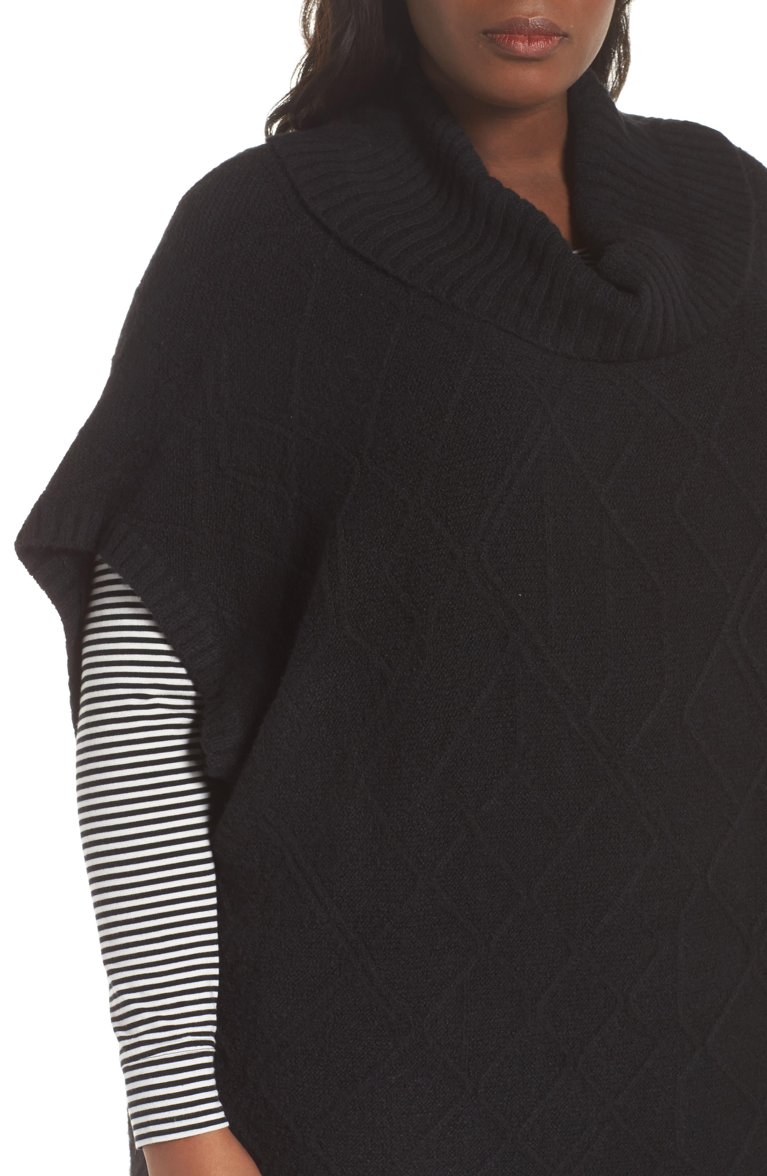 Poncho Sweater,                             Alternate thumbnail 4, color,                             BLACK