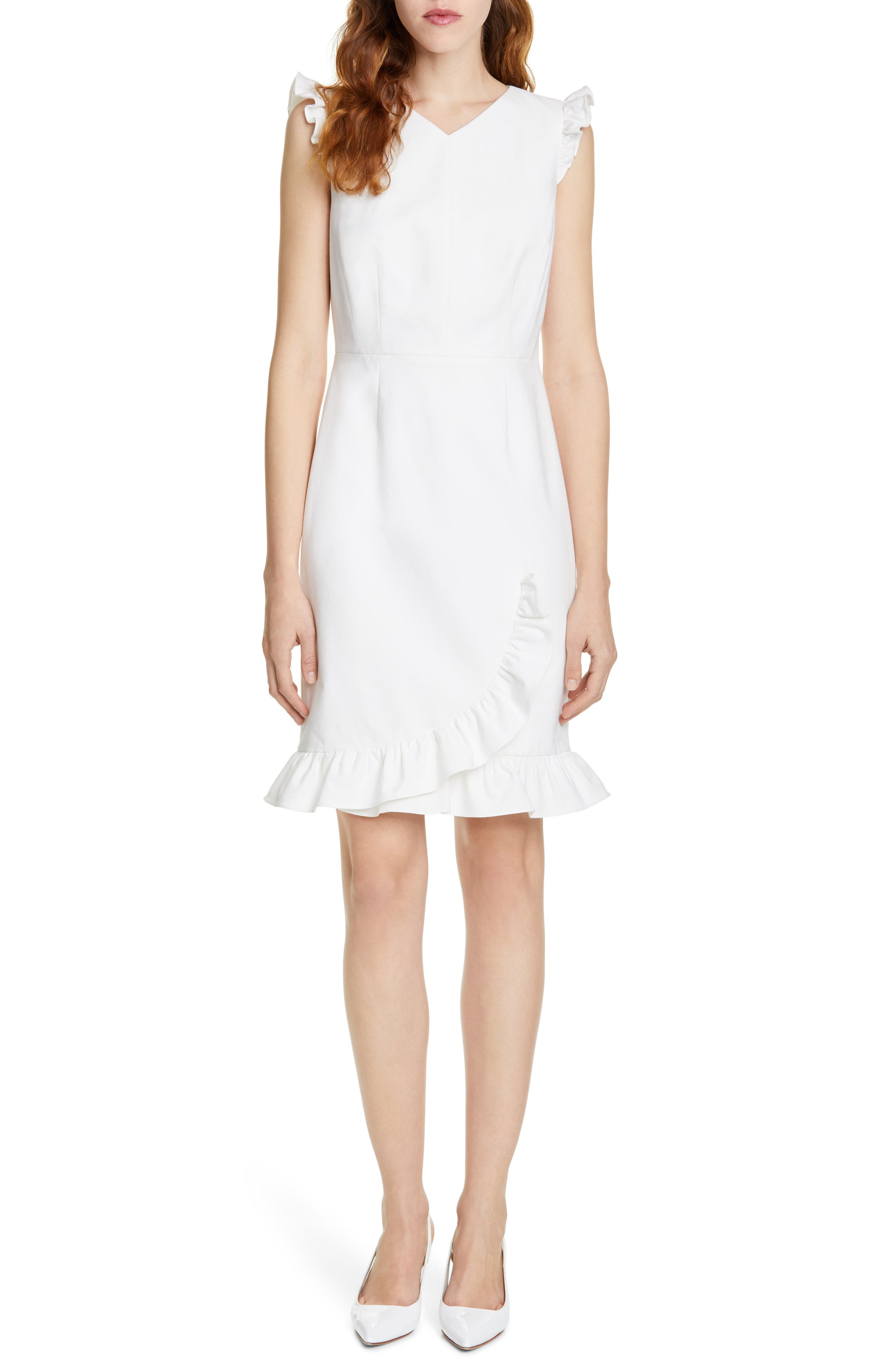 Tailored By Rebecca Taylor Ruffle Detail Cotton Blend Dress, Ivory