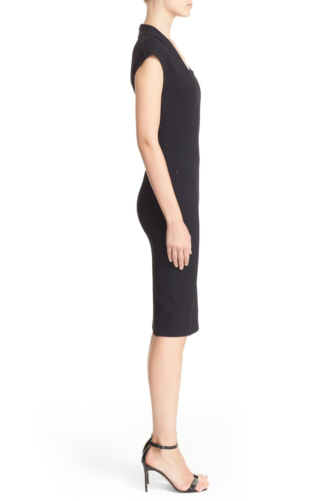 Embellished Luxe Sculpture Knit Dress,                             Alternate thumbnail 7, color,                             001