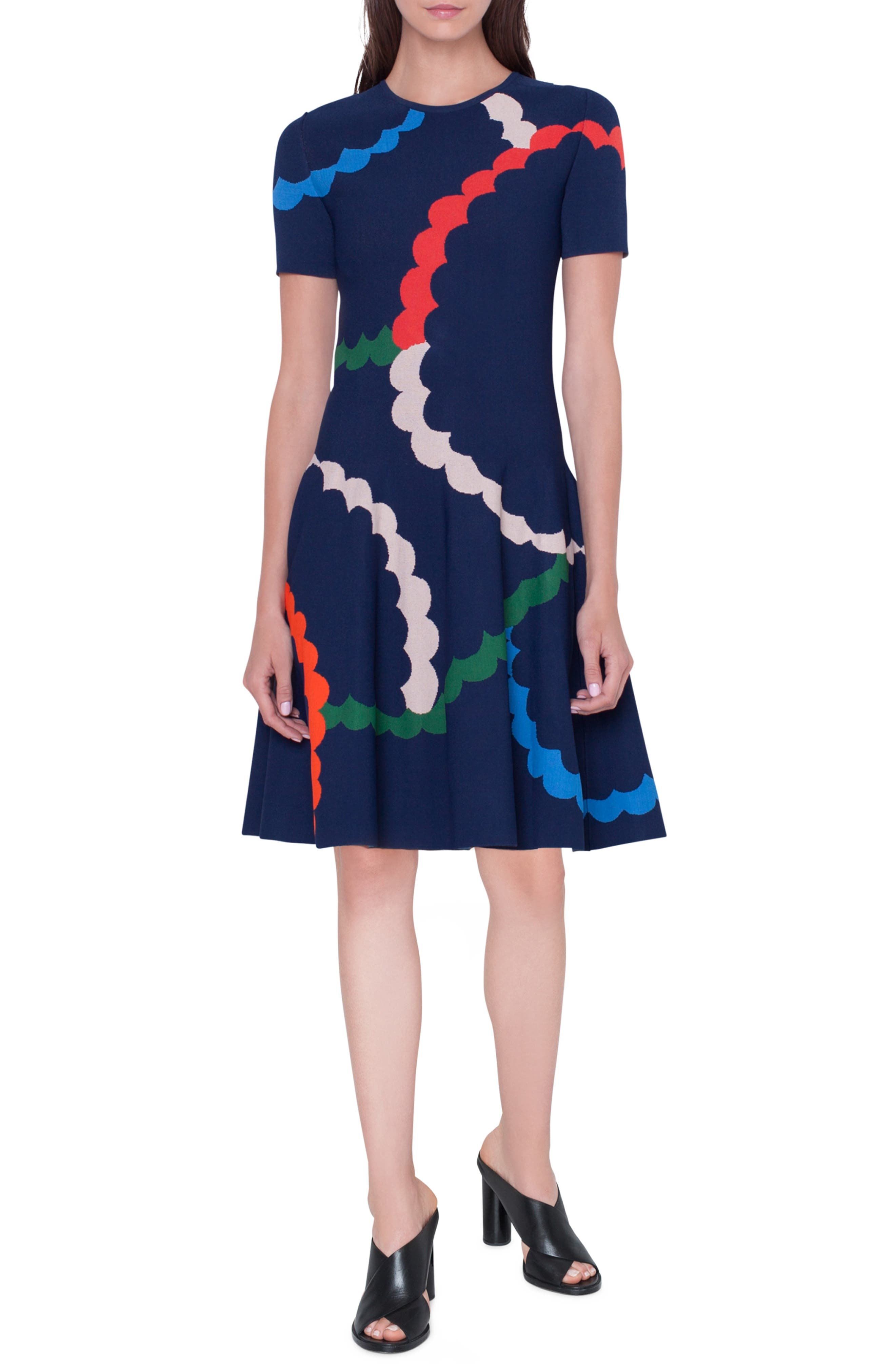 Memphis Fit & Flare Jacquard Dress, Main, color, BLU MARE-MULTICOLOR