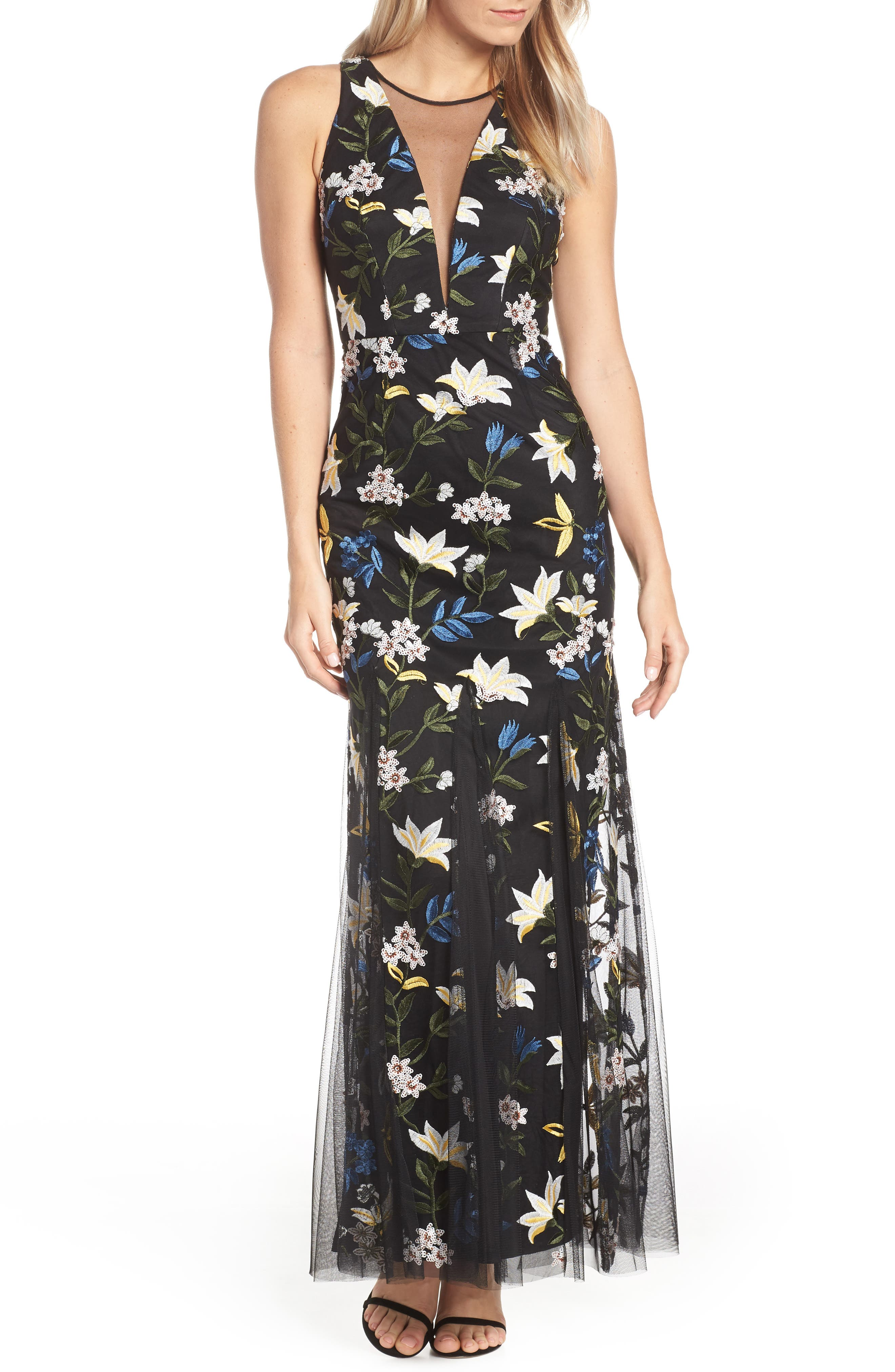 Adrianna Papell Sequin Embroidery Gown, Blue