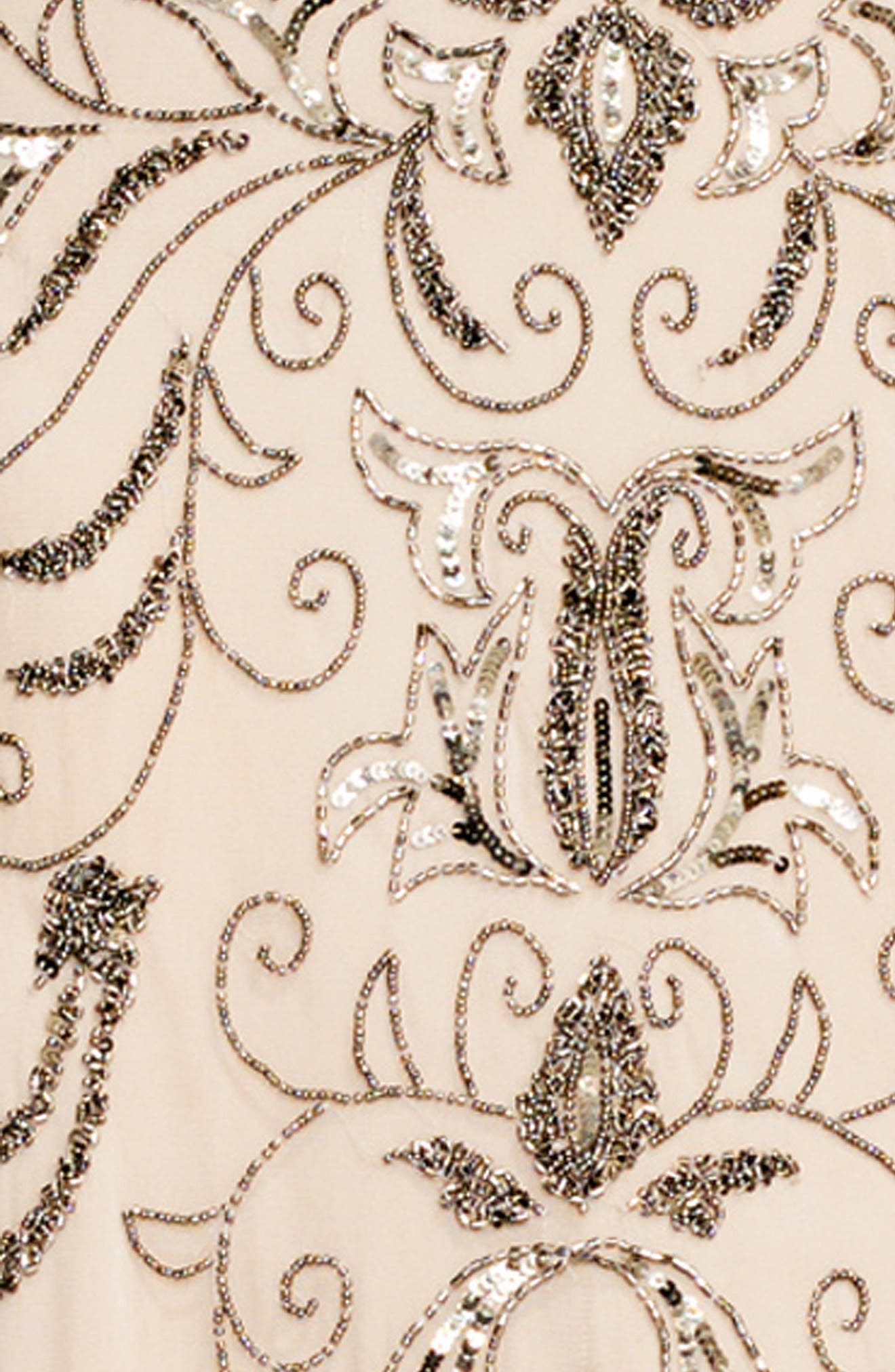 Beaded One-Shoulder Blouson Gown,                             Alternate thumbnail 4, color,                             036