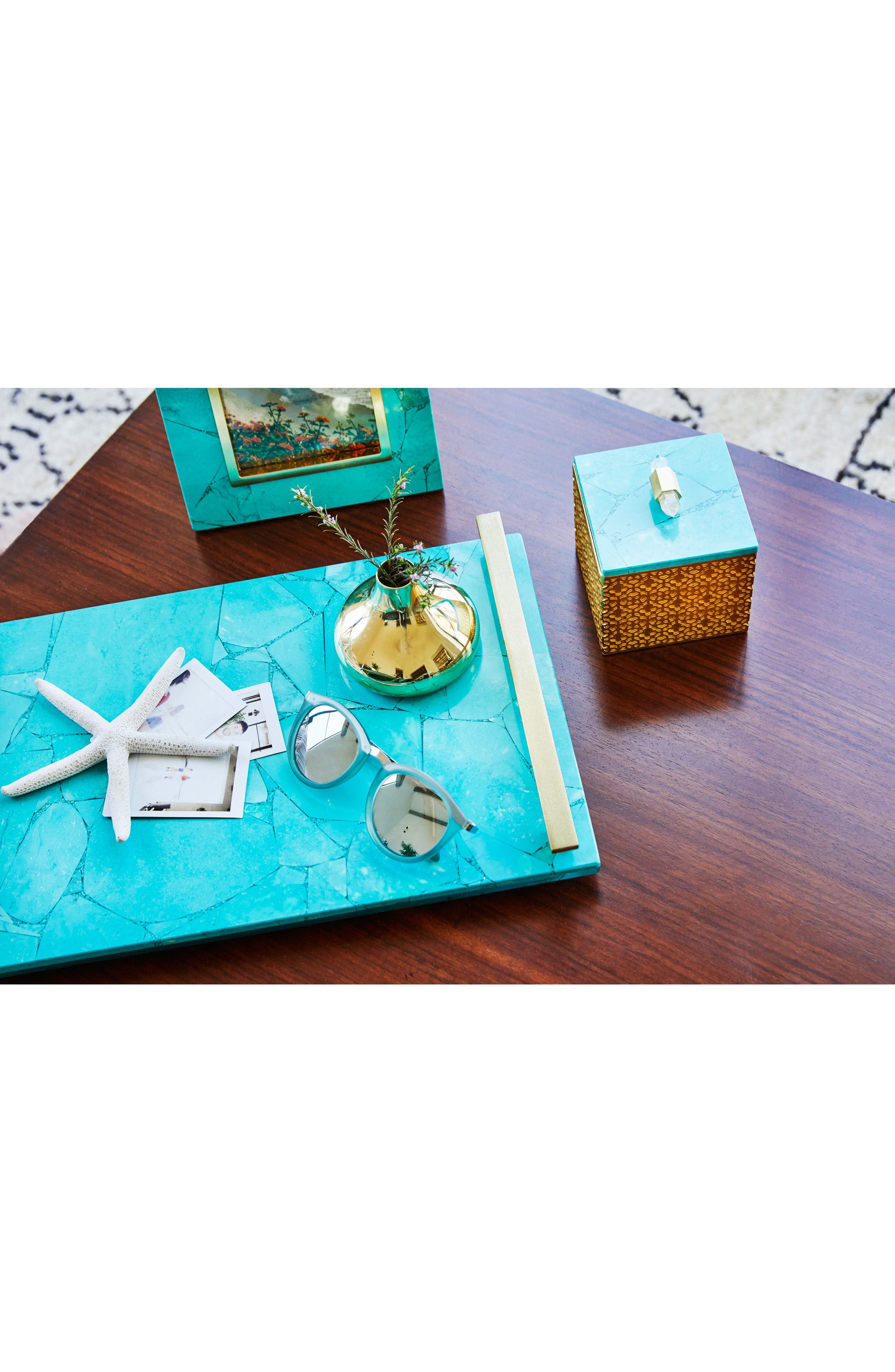 Small Stone Slab Tray,                             Alternate thumbnail 3, color,                             VARIEGATED TEAL